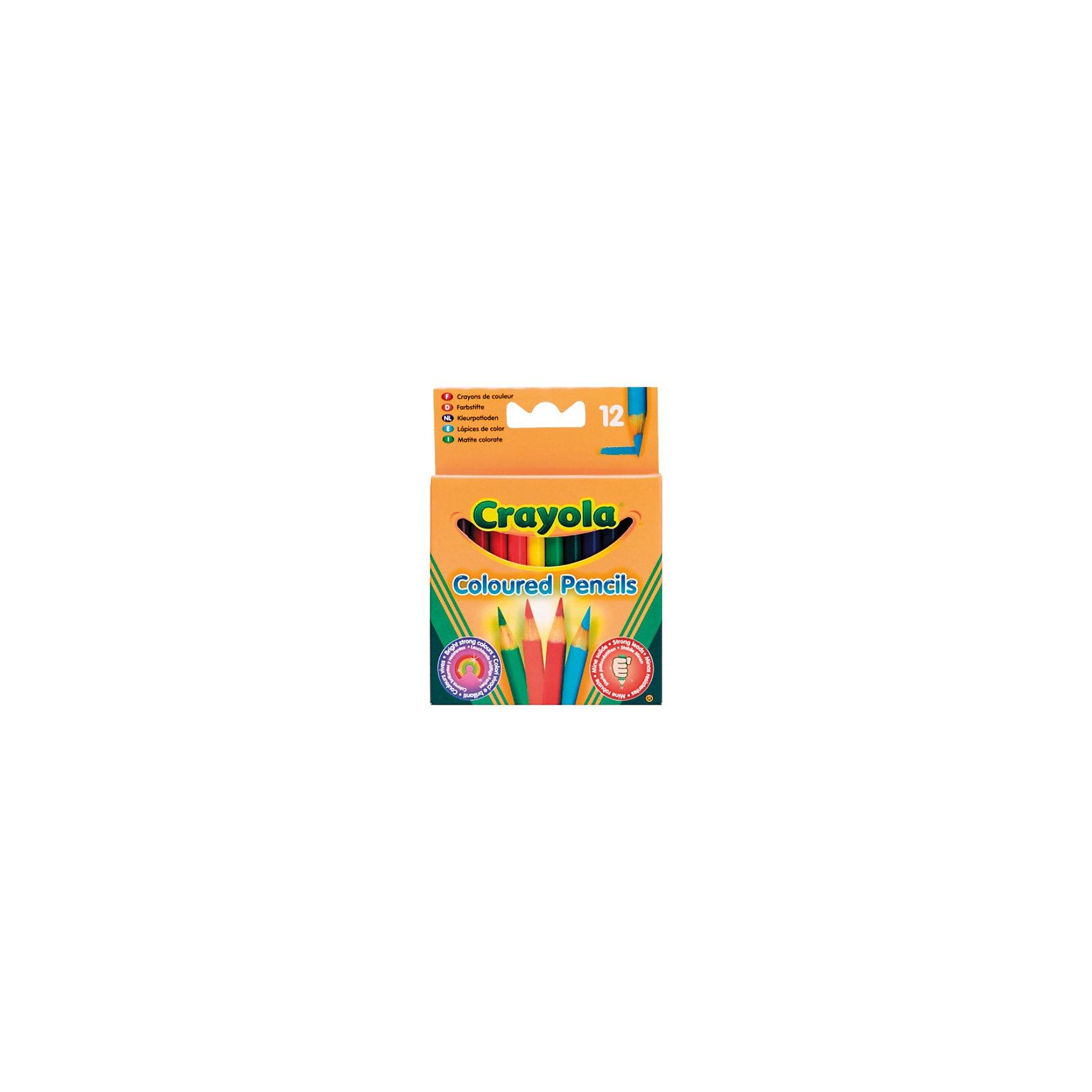 Набор из 12 коротких цветных карандашей, CrayolaВаш ребёнок очень любит рисовать, но Вы никак не можете найти для его творчества подходящие карандаши? Тогда Вам стоит обратить внимание на набор цветных карандашей от Crayola (Крайола).<br><br>Маленькие карандаши особенно удобны для детей, которым хочется нарисовать так много ярких и красивых картин! Карандаши очень прочные и не сломаются при первом использовании. В них много пигментов, поэтому цвета будут очень яркими. Отлично подходят для рисования, раскрашивания, создания фона и ретуширования. Особая мягкость грифеля обеспечивает ровное нанесение цвета.<br><br>Набор из 12 коротких цветных карандашей от Crayola (Крайола) можно купить в нашем интернет-магазине.<br><br>Дополнительная информация:<br>Длина карандаша: 8,5 см<br>Диаметр: 0,7 см<br><br>Ширина мм: 90<br>Глубина мм: 100<br>Высота мм: 8<br>Вес г: 40<br>Возраст от месяцев: 36<br>Возраст до месяцев: 1188<br>Пол: Унисекс<br>Возраст: Детский<br>SKU: 2149664