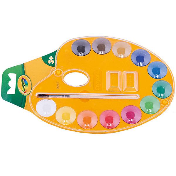 Набор акварельных красок с кисточкой, CrayolaКраски и кисточки<br>Акварельные краски фирмы Crayola (Крайола)- это нетоксичные и безопасные краски самого высокого качества. Краска безвредна, даже если ребёнок попробует ее на вкус. Эти краски обладают легкой наполняемостью кисти, повышенной разносимостью и высокой светостойкостью.<br><br>Краски хорошо наносятся на бумагу и сохраняют свой насыщенный цвет, поэтому картинки Вашего ребёнка будут яркие и красочные! Удобная палитра устойчива и не будет переворачиваться во ввремя рисования.<br><br>В набор входят 12 цветов, палитра с двумя углублениями для смешивания красок, кисточка.<br><br>Набор акварельных красок с кисточкой от Crayola (Крайола) можно купить в нашем интернет-магазине.<br><br>Дополнительная информация:<br>Длина кисточки: 13 см<br>Размер упаковки (д/ш/в): 14 х 6 х 22 см<br><br>Ширина мм: 140<br>Глубина мм: 60<br>Высота мм: 220<br>Вес г: 150<br>Возраст от месяцев: 36<br>Возраст до месяцев: 180<br>Пол: Унисекс<br>Возраст: Детский<br>SKU: 2149672