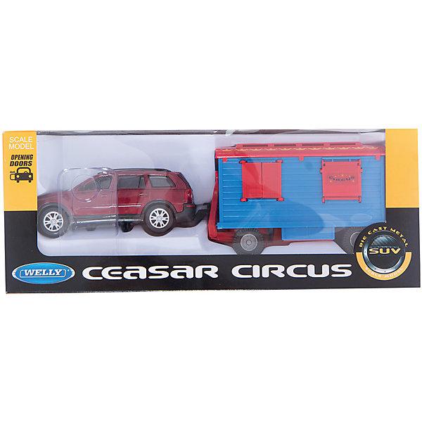 Игровой набор цирк Volvo XC90 1:24 с прицепом, WellyМашинки<br>Характеристики товара:<br><br>• цвет: красный<br>• материал: пластик, металл <br>• размер упаковки: 34,5х8х13,5 см<br>• открываются двери и ставни<br>• марка машины: BMW X5<br>• масштаб: 1:24 <br>• комплектация: машина, фургон<br>• хорошая детализация<br>• вес: 500 г<br>• страна бренда: Китай<br>• страна производства: Китай<br><br>В этот игровой набор входит машина BMW X5 и фургон. Такая хорошо детализированная игрушка от бренда Welly станет отличным подарком мальчику. У каждой игрушки из набора открываются двери или ставни. Изделия прочные, сделаны из металла с добавлением пластика.<br>Игры с машинками позволяют ребенку не только весело проводить время, но и развивать важные навыки: мелкую моторику, воображение, логику, мышление. Изделие произведено из сертифицированных материалов, безопасных для детей.<br><br>Игровой набор цирк Volvo XC90 1:24 с прицепом от бренда Welly (Велли) можно купить в нашем интернет-магазине.<br><br>Ширина мм: 345<br>Глубина мм: 80<br>Высота мм: 135<br>Вес г: 520<br>Возраст от месяцев: 84<br>Возраст до месяцев: 1188<br>Пол: Мужской<br>Возраст: Детский<br>SKU: 2150001