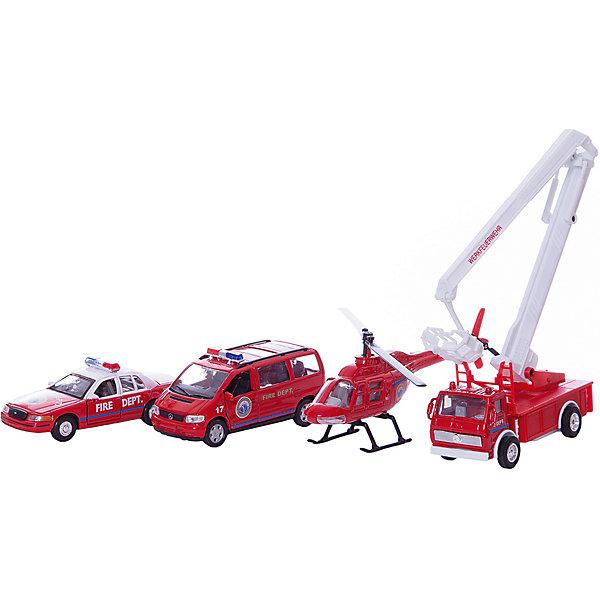 Welly Набор машин Пожарная служба 4 штукиМашинки<br>Welly Набор машин Пожарная служба 4 штуки<br><br>Характеристики:<br><br>• Возраст: от 4 лет<br>• В комплекте: вертолет, фургон, легковая и пожарная машины<br>• Материал: металл, пластик<br>• Цвет: красный<br><br>Игровой набор включает в себя уменьшенную копию пожарной машины, легковой служебный автомобиль, фургон и вертолет. Все это поможет ребенку создать целый спектакль. Все игрушки сделаны из качественного материала, который не только безопасен для ребенка, но еще и очень крепок. <br><br>Welly Набор машин Пожарная служба 4 штуки можно купить в нашем интернет-магазине.<br><br>Ширина мм: 365<br>Глубина мм: 205<br>Высота мм: 60<br>Вес г: 626<br>Возраст от месяцев: 84<br>Возраст до месяцев: 1188<br>Пол: Мужской<br>Возраст: Детский<br>SKU: 2150012
