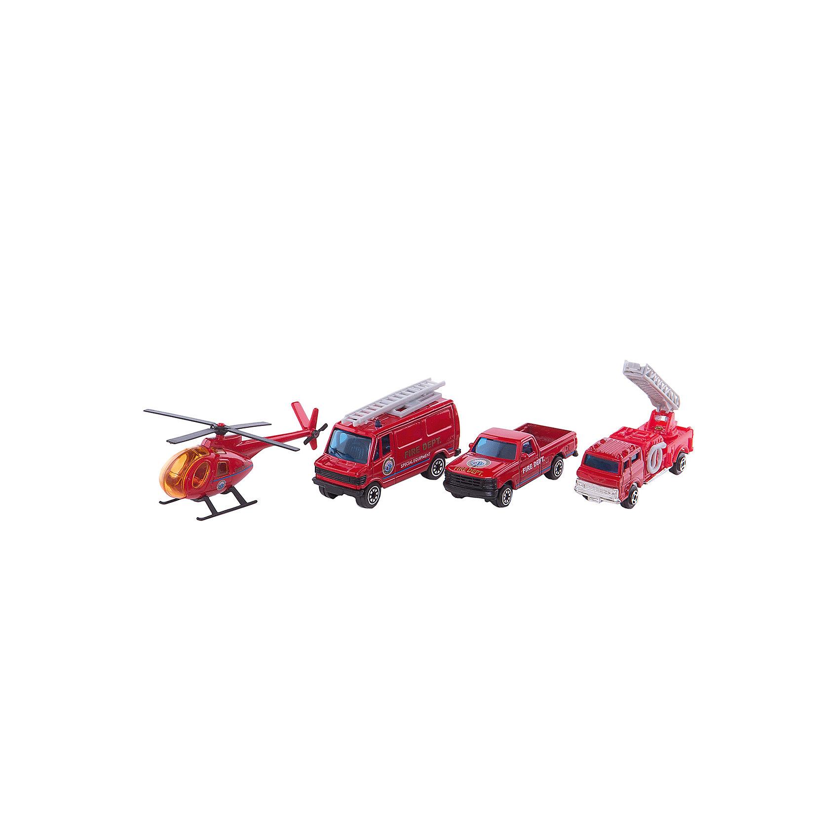 Welly Набор Служба спасения - пожарная команда  4 штукиИгровые наборы<br>Welly Набор Служба спасения - пожарная команда 4 штуки<br><br>Характеристики:<br><br>• Возраст: от 4 лет<br>• В комплекте: вертолет, фургон, легковая и пожарная машины<br>• Материал: металл, пластик<br>• Цвет: красный<br><br>Игровой набор включает в себя уменьшенную копию пожарной машины, легковой служебный автомобиль, фургон и вертолет. Все это поможет ребенку создать целый спектакль. Все игрушки сделаны из качественного материала, который не только безопасен для ребенка, но еще и очень крепок. <br><br>Welly Набор Служба спасения - пожарная команда 4 штуки можно купить в нашем интернет-магазине.<br><br>Ширина мм: 35<br>Глубина мм: 210<br>Высота мм: 150<br>Вес г: 206<br>Возраст от месяцев: 84<br>Возраст до месяцев: 1188<br>Пол: Мужской<br>Возраст: Детский<br>SKU: 2150015