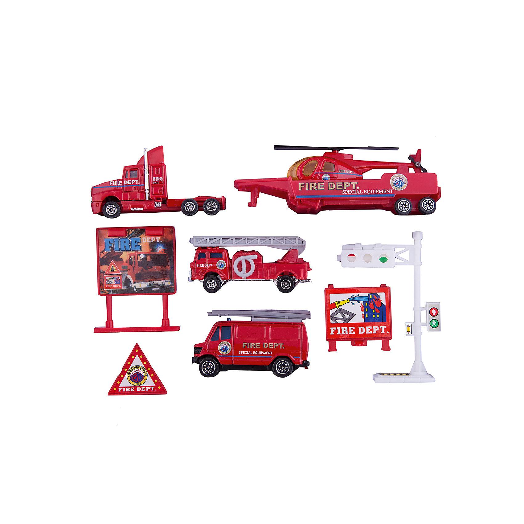 Welly Welly Набор Служба спасения - пожарная команда  9 штук welly welly модель машины газель пожарная охрана