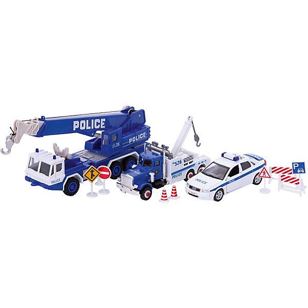 Welly Набор машин ПолицияМашинки<br>Welly Набор машин Полиция<br><br>Характеристики:<br><br>• Возраст: от 4 лет<br>• В комплекте: фургон, легковая и полицейская машины, аксессуары<br>• Материал: металл, пластик<br>• Цвет: белый, синий<br><br>Игровой набор включает в себя уменьшенную копию полицейской машины с краном, легковой служебный автомобиль и буксировщик. Кроме этого в комплекте идут все необходимые аварийные знаки, столбики и указатели. Все это поможет ребенку создать целый спектакль. Все игрушки сделаны из качественного материала, который не только безопасен для ребенка, но еще и очень крепок. <br><br>Welly Набор машин Полиция можно купить в нашем интернет-магазине.<br><br>Ширина мм: 335<br>Глубина мм: 165<br>Высота мм: 65<br>Вес г: 564<br>Возраст от месяцев: 84<br>Возраст до месяцев: 1188<br>Пол: Мужской<br>Возраст: Детский<br>SKU: 2150019
