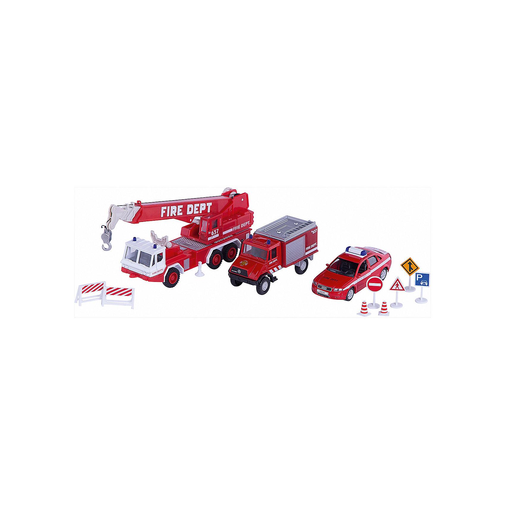 Welly Набор машин Пожарная служба 10 штукИгровые наборы<br>Welly Набор машин Пожарная служба 10 штук<br><br>Характеристики:<br><br>• Возраст: от 4 лет<br>• В комплекте: фургон, легковая и пожарная машины, аксессуары<br>• Материал: металл, пластик<br>• Цвет: красный<br><br>Игровой набор включает в себя уменьшенную копию пожарной машины с краном, легковой служебный автомобиль и фургон. Кроме этого в комплекте идут все необходимые аварийные знаки, столбики и указатели. Все это поможет ребенку создать целый спектакль. Все игрушки сделаны из качественного материала, который не только безопасен для ребенка, но еще и очень крепок. <br><br>Welly Набор машин Пожарная служба 10 штук можно купить в нашем интернет-магазине.<br><br>Ширина мм: 335<br>Глубина мм: 165<br>Высота мм: 65<br>Вес г: 570<br>Возраст от месяцев: 84<br>Возраст до месяцев: 1188<br>Пол: Мужской<br>Возраст: Детский<br>SKU: 2150020