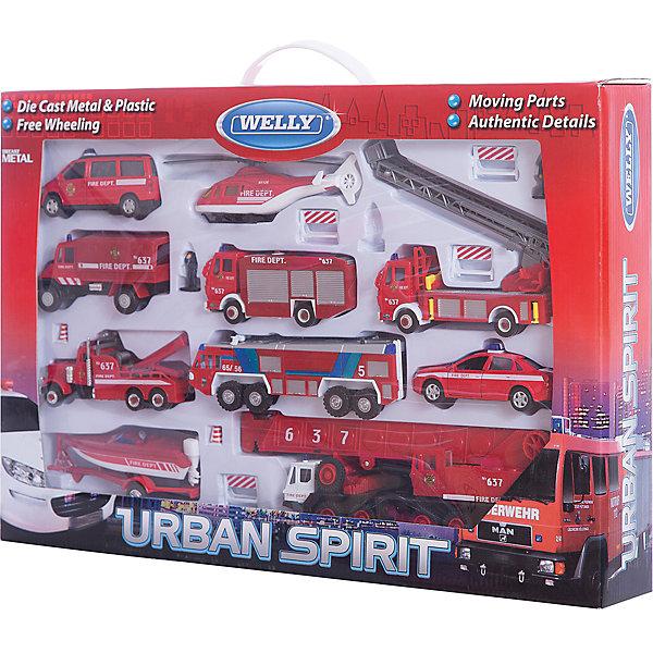 Welly Набор машин Пожарная служба 20 штукМашинки<br>Характеристики набора машин Пожарная служба 20 штук:<br><br>- возраст: от 3 лет<br>- пол: для мальчиков<br>- материал: пластмассы и металла.<br>- размеры: 53*8,*35 см<br>- бренд: Welly<br><br>Игровой набор Пожарная служба торговой марки Welly (20 шт.)- это настоящая армия спасения. Весь автопарк пожарной станции в одном наборе! Модели набора обладают ярким, современным дизайном и высоким качеством. Особенности данного набора –стекла машин сделаны из прочного пластика, на кабинах расположены декоративные проблесковые маячки, двери открываются только у легкого автомобиля- кабины оборудованы рулем и сидением , руль не вращается – у вертолета вращаются лопасти – платформа крана поворачивается, стрела поднимается –колеса вращаются, но не поворачиваются, стрела поднимается – колеса вращаются, но не поворачиваются – прицеп съемный. В комплект входят : буксир, машина с прицепом, легковой автомобиль, 2 крана, вертолет 3 больших пожарных машины, катер, 3 фигурки спасателей, дорожные знаки.<br><br>Набор машин Пожарная служба 20 штук торговой марки Welly можно купить в нашем интернет-магазине.<br>Ширина мм: 530; Глубина мм: 350; Высота мм: 80; Вес г: 2011; Возраст от месяцев: 84; Возраст до месяцев: 1188; Пол: Мужской; Возраст: Детский; SKU: 2150023;