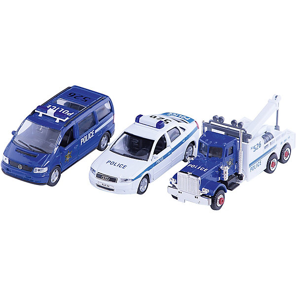 Welly Набор машин Полиция 3 штукиМашинки<br>Welly Набор машин Полиция 3 штуки<br><br>Характеристики:<br><br>• Возраст: от 4 лет<br>• В комплекте: полицейская машина, легковой служебный автомобиль и буксировщик<br>• Материал: металл, пластик<br>• Цвет: белый, синий<br><br>Игровой набор включает в себя уменьшенную копию полицейской машины, а также легковой служебный автомобиль и буксировщик. Кроме этого в комплекте идут все необходимые аварийные знаки, столбики и указатели. Все это поможет ребенку создать целый спектакль. Все игрушки сделаны из качественного материала, который не только безопасен для ребенка, но еще и очень крепок. <br><br>Welly Набор машин Полиция 3 штуки можно купить в нашем интернет-магазине.<br>Ширина мм: 155; Глубина мм: 60; Высота мм: 200; Вес г: 448; Возраст от месяцев: 84; Возраст до месяцев: 1188; Пол: Мужской; Возраст: Детский; SKU: 2150025;