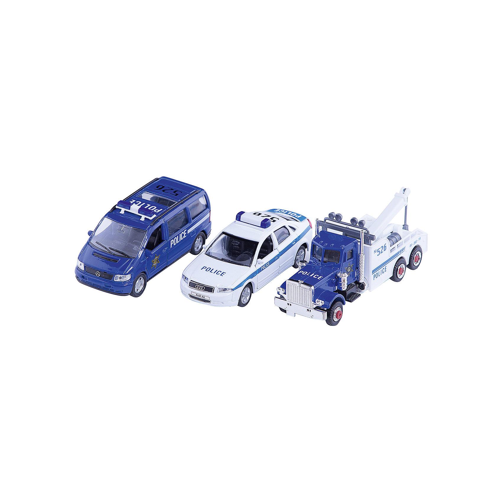 Welly Набор машин Полиция 3 штукиИгровые наборы<br>Welly Набор машин Полиция 3 штуки<br><br>Характеристики:<br><br>• Возраст: от 4 лет<br>• В комплекте: полицейская машина, легковой служебный автомобиль и буксировщик<br>• Материал: металл, пластик<br>• Цвет: белый, синий<br><br>Игровой набор включает в себя уменьшенную копию полицейской машины, а также легковой служебный автомобиль и буксировщик. Кроме этого в комплекте идут все необходимые аварийные знаки, столбики и указатели. Все это поможет ребенку создать целый спектакль. Все игрушки сделаны из качественного материала, который не только безопасен для ребенка, но еще и очень крепок. <br><br>Welly Набор машин Полиция 3 штуки можно купить в нашем интернет-магазине.<br><br>Ширина мм: 155<br>Глубина мм: 60<br>Высота мм: 200<br>Вес г: 448<br>Возраст от месяцев: 84<br>Возраст до месяцев: 1188<br>Пол: Мужской<br>Возраст: Детский<br>SKU: 2150025