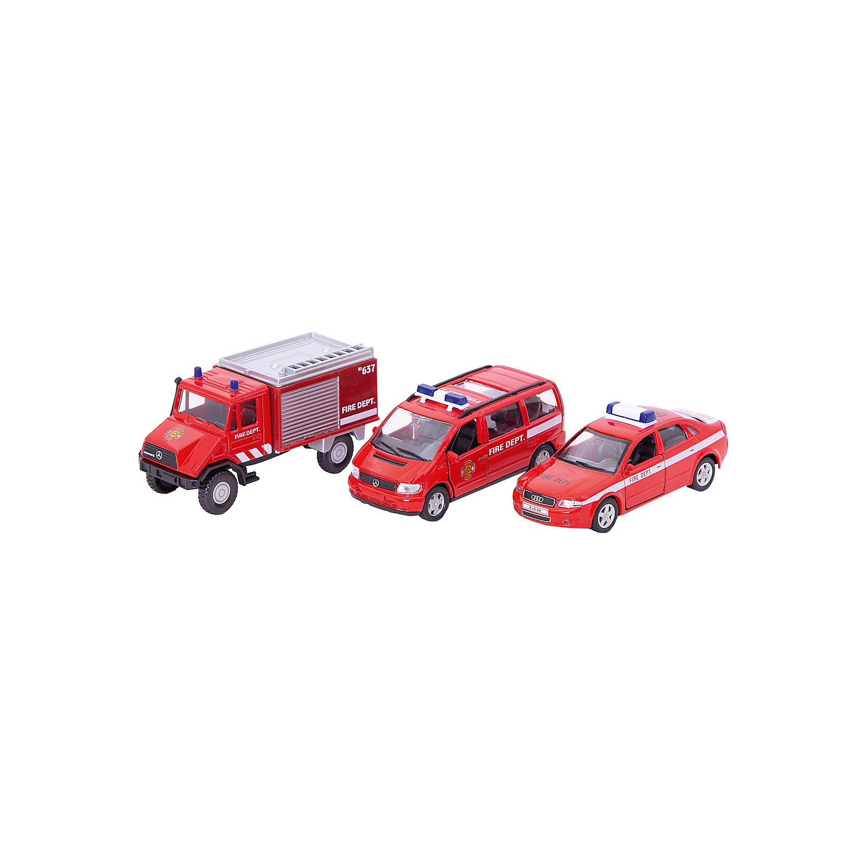 Welly Набор машин Пожарная служба 3 штукиХарактеристики товара:<br><br>• цвет: красный<br>• материал: пластик, металл <br>• размер: 10-13 см<br>• комплектация: 3 предмета<br>• хорошая детализация<br>• возраст: от трех лет<br>• страна бренда: Китай<br>• страна производства: Китай<br><br>В этот игровой набор входит 3 предмета в тематике Пожарная служба - разные машинки. Такая хорошо детализированная игрушка от бренда Welly станет отличным подарком мальчику. Изделия прочные, сделаны из металла с добавлением пластика. С ними можно придумать множество игр!<br>Игры с машинками позволяют ребенку не только весело проводить время, но и развивать важные навыки: мелкую моторику, воображение, логику, мышление. Изделие произведено из сертифицированных материалов, безопасных для детей.<br><br>Набор машин Пожарная служба 3 штуки от бренда Welly (Велли) можно купить в нашем интернет-магазине.<br><br>Ширина мм: 155<br>Глубина мм: 60<br>Высота мм: 200<br>Вес г: 454<br>Возраст от месяцев: 84<br>Возраст до месяцев: 1188<br>Пол: Мужской<br>Возраст: Детский<br>SKU: 2150027