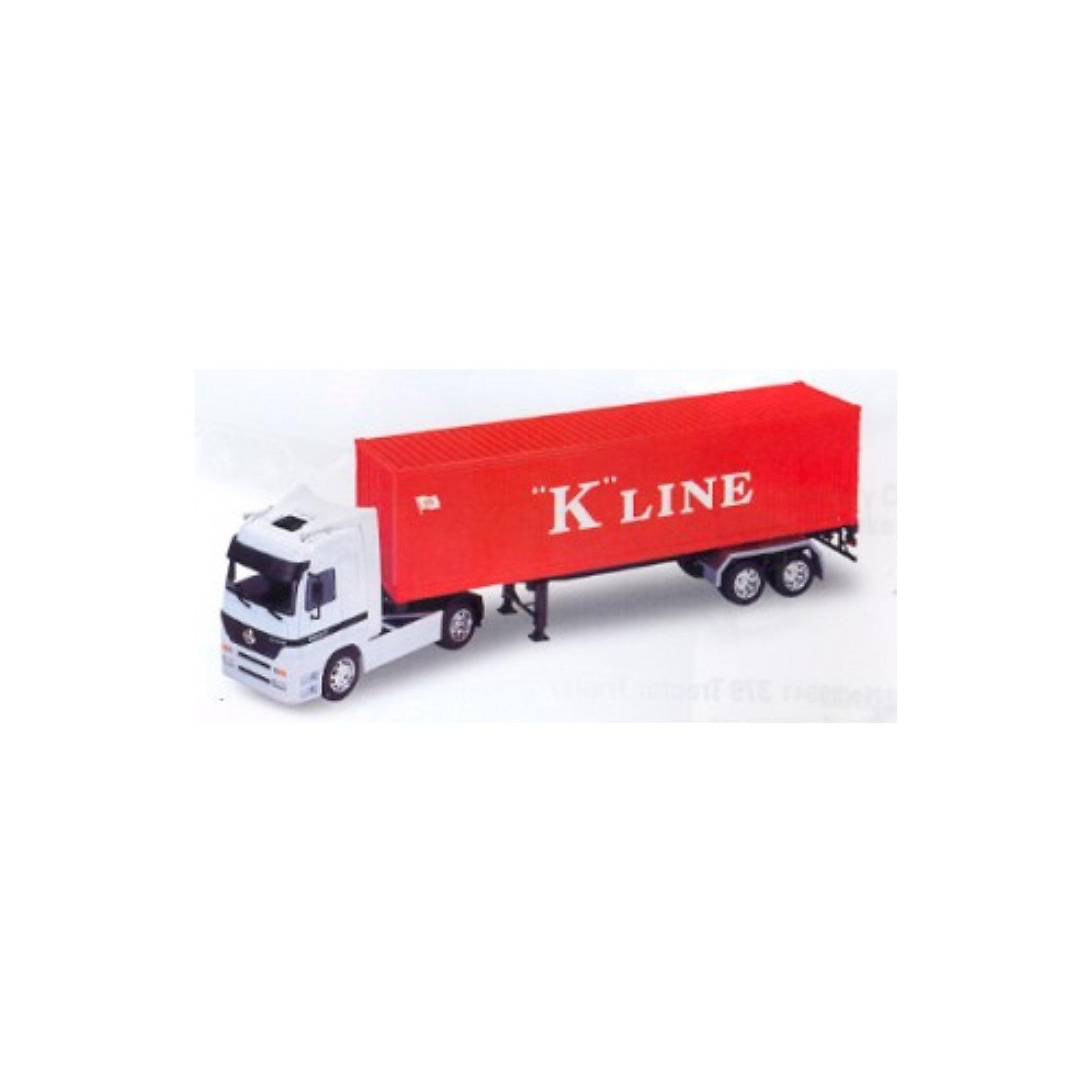 Welly Модель грузовика 1:32 Mercedes Benz Actros (прицеп)Модель седельного тягача c полупирцепом.<br><br>Модель инерционная, передние двери открываются.<br><br>Дополнительная информация:<br><br>Масштаб: 1:32.<br>Материал: металл, пластик.<br>Размер упаковки (д/ш/в): 61 х 11,5 х 17,5 см.<br><br>Ширина мм: 610<br>Глубина мм: 115<br>Высота мм: 175<br>Вес г: 1635<br>Возраст от месяцев: 84<br>Возраст до месяцев: 1188<br>Пол: Мужской<br>Возраст: Детский<br>SKU: 2150029