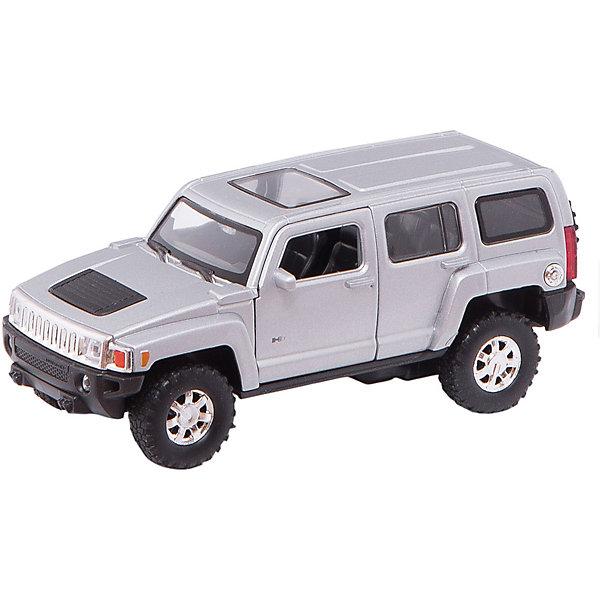 Welly Модель машины 1:32 HUMMER H3Машинки<br>Модель автомобиля масштаба 1:32 инерционная. У машинки открываются двери.<br><br>Дополнительная информация:<br><br>- размер: 18 х 8 х 7 см.<br>- открываются передние двери, руль не вращается<br>- салон детализирован<br>- стекла прочные, небьющиеся <br>- литой металлический корпус <br>- инерционный механизм<br><br>ВНИМАНИЕ: Данный артикул представлен в различных цветовых исполнениях. К сожалению, заранее выбрать определенный цвет невозможно.<br><br>Welly Модель машины 1:32 HUMMER H3 можно купить в нашем магазине.<br><br>Ширина мм: 180<br>Глубина мм: 80<br>Высота мм: 85<br>Вес г: 278<br>Возраст от месяцев: 84<br>Возраст до месяцев: 1188<br>Пол: Мужской<br>Возраст: Детский<br>SKU: 2150116