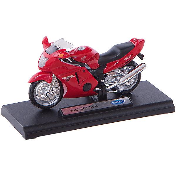 Welly Модель мотоцикла 1:18 Honda CBR1100XXМашинки<br>Мотоцикл является маленькой копией настоящего мотоцикла.<br>У мотоцикла высокое качество деталей.<br><br>Дополнительная информация:<br><br>Размеры: 17 x 7 x 11 см.<br><br>ВНИМАНИЕ! Данный артикул имеется в наличии в разных цветах. Заранее выбрать определенный цвет нельзя. При заказе нескольких позиций возможно получение одинаковых.<br><br>Ширина мм: 170<br>Глубина мм: 110<br>Высота мм: 70<br>Вес г: 171<br>Возраст от месяцев: 84<br>Возраст до месяцев: 1188<br>Пол: Мужской<br>Возраст: Детский<br>SKU: 2150158