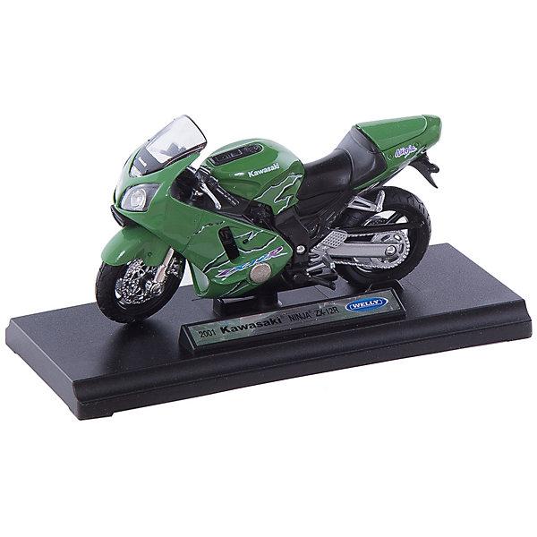 Welly Модель мотоцикла 1:18 MOTORCYCLE / KAWASAKI 2001 NINJA  ZX-12RМашинки<br>Коллекционная модель мотоцикла масштаба 1:18 MOTORCYCLE / KAWASAKI 2001 NINJA ZX-12R - это миникопия реального спортивного мотоцикла Kawasaki 2001 Ninja ZX-12R. Яркий хищный дизайн привлечет внимание как юного, так и взрослого коллекционера. <br><br>Дополнительная информация:<br><br>- Размеры: упаковки<br>- масштаб 1:18 <br>- цвет - зеленый<br>- есть зеркала заднего вида, выхлопная труба,передняя и задняя фары, подножка для устойчивости <br>- руль управляет передними колесами<br>- приборная панель и корпус тщательно проработанны<br>- лобовое стекло прочное, небьющееся <br>- литой металлический корпус <br>- инерционного механизма нет <br>- размер: длина - 13 см, высота - 6 см <br>- материал: металлическая с элементами из пластмассы, колеса резиновые <br><br>Welly Модель мотоцикла 1:18 можно купить в нашем магазине.<br>Ширина мм: 170; Глубина мм: 110; Высота мм: 70; Вес г: 218; Возраст от месяцев: 84; Возраст до месяцев: 1188; Пол: Мужской; Возраст: Детский; SKU: 2150165;
