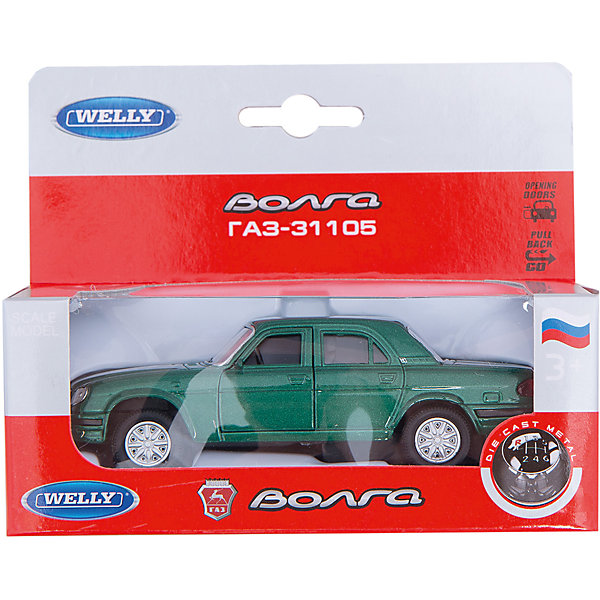 Welly Модель машины ВолгаМашинки<br>Модель автомобиля Волга масштаба 1:34 инерционная. <br><br>У машинки открываются двери.<br><br>Дополнительная информация:<br><br>Материал: металл с элементами пластика.<br><br>Размер упаковки (д/ш/в): 14 х 6 х 11 см.<br><br>Прекрасная модель для автолюбителей.<br><br>Внимание! Данная модель имеет несколько вариантов исполнения, при заказе нескольких моделей возможно получение одинаковых.<br>Ширина мм: 140; Глубина мм: 60; Высота мм: 110; Вес г: 160; Возраст от месяцев: 84; Возраст до месяцев: 1188; Пол: Мужской; Возраст: Детский; SKU: 2150196;