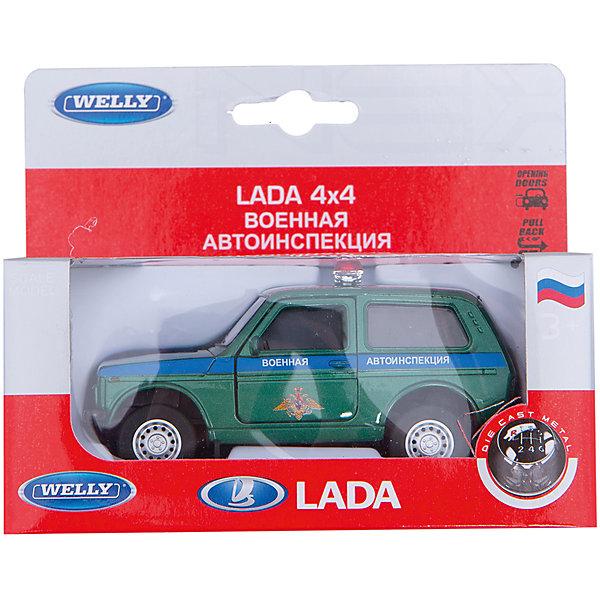Welly Модель машины 1:34-39 LADA Военная автоиспенкцияВоенный транспорт<br>Характеристики товара:<br><br>• цвет: хаки<br>• материал: пластик, металл <br>• размер игрушки: 12х3,5 см<br>• открываются двери<br>• хорошая детализация<br>• масштаб: 1:34-39<br>• инерционная<br>• возраст: от трех лет<br>• страна бренда: Китай<br>• страна производства: Китай<br><br>Такая хорошо детализированная машинка станет отличным подарком мальчику. Она выглядит практически как настоящая, только уменьшенная У игрушки открываются двери, она инерционная: если провезти её задним ходом и отпустить - она сама поедет вперед. Детали модели окрашены в характерные цвета Службы Лесоохраны РФ.<br>Игры с машинками позволяют ребенку не только весело проводить время, но и развивать важные навыки: мелкую моторику, воображение, логику, мышление. Изделие произведено из сертифицированных материалов, безопасных для детей.<br><br> Модель машины 1:34-39 LADA Военная автоиспенкция от бренда Welly можно купить в нашем интернет-магазине.<br>Ширина мм: 150; Глубина мм: 60; Высота мм: 120; Вес г: 179; Возраст от месяцев: 84; Возраст до месяцев: 1188; Пол: Мужской; Возраст: Детский; SKU: 2150212;