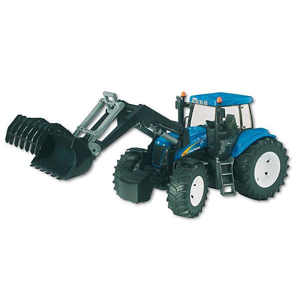 Трактор New Holland T8040 с погрузчиком, BruderМашинки<br>Трактор New Holland T8040 с погрузчиком, Bruder (Брудер) - это качественная детализированная игрушка с подвижными элементами.<br>Трактор New Holland T8040 с погрузчиком от немецкого производителя игрушек Bruder (Брудер) - это уменьшенная полноценная копия настоящей машины! Модель отличается высокой степенью детализации. Кабина трактора с открывающимися дверьми и люком, прозрачным пластиком на окнах, водительским сидением и рычагами тщательно проработана. Машина имеет массу преимуществ и функций, она заинтересует или разовьет интерес ребенка к миру автомеханики. Съемные стрела с ковшом поднимаются и опускаются, меняет угол наклона. Ковш делает зачерпывающие движения и поворачивается на 90 градусов, управление происходит с помощью специального рычажка. Капот трактора поднимается, открывая доступ к двигателю. Передняя ось трактора имеет амортизатор, что позволит трактору сохранять устойчивость на любых труднопроходимых участках дороги, легко преодолевая препятствия на своём пути. Широкие большие колёса трактора с крупным протектором обеспечивают хорошую проходимость. Все колеса прорезиненные. Они не гремят при езде и не царапают пол. Управление передними колесами осуществляется с помощью руля в кабине или дополнительного руля, который вставляется через отодвигающее отверстие на крыше трактора. Трактор оснащен фаркопом для прицепных устройств. Игрушка изготовлена из высококачественного пластика, устойчивого к износу и ударам. Продукция сертифицирована, экологически безопасна для ребенка, использованные красители не токсичны и гипоаллергенны.<br><br>Дополнительная информация:<br><br>- Размер: 46 х 17,5 х 20,5 см.<br>- Масштаб 1:16<br>- Материал: высококачественный ударопрочный пластик<br>- Цвет: синий, черный, серый<br><br>Трактор New Holland T8040 с погрузчиком, Bruder (Брудер) можно купить в нашем интернет-магазине.<br><br>Ширина мм: 509<br>Глубина мм: 220<br>Высота мм: 193<br>Вес г: 1317<br>Возраст от месяцев: 