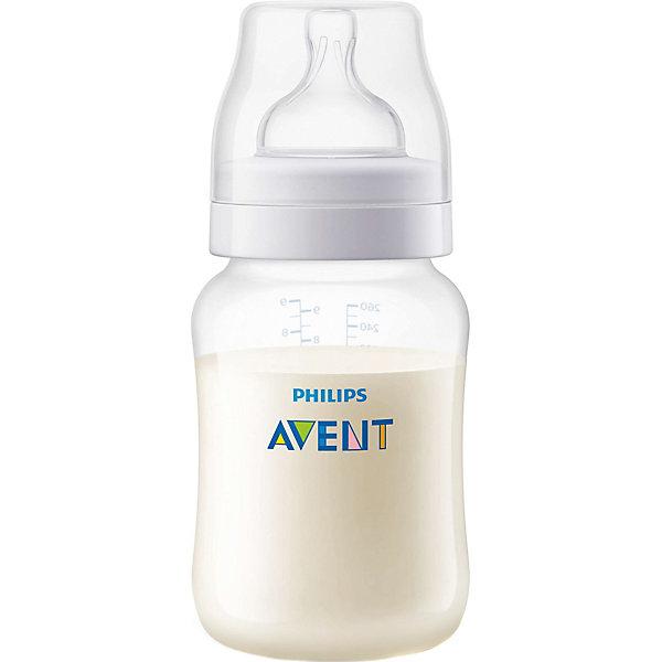 Бутылочка для кормления Classic, 260 мл, РР, AVENTХиты продаж<br>Беспокойное поведение свойственно новорожденным и часто выражается в плаче.<br><br>Бутылочка Philips AVENT (Авент) Classic (соска с медленным потоком) значительно снижает риск возникновения колик и раздражительности, особенно в ночное время.<br><br>Преимущества:<br>- Уникальная соска с антивакуумной юбкой, предотвращая заглатывание воздуха, уменьшает вероятность возникновения колик.  <br>- Эргономичный дизайн, благодаря приталенной форме бутылочку удобно держать.<br>- Широкое горлышко позволяет ее легко мыть и  наполнять молочной смесью.  <br>- Колпачок надежно перекрывает отверстия в соске, предохраняя содержимое от проливания.  <br>- Соска сгибается в соответствии с ритмом кормления <br> <br>Дополнительная информация:<br><br>Материал:<br>- Бутылочка: Полипропилен, Не содержит бисфенол-А<br>- Соска: Силиконовая, Не содержит бисфенол-А<br><br>Размеры упаковки: (Д х Ш х В): 7 х 7 х 16 см.<br><br>Рекомендуемый возраст: 0—6 месяцев.<br><br>Полноценный сон и правильное питание крайне необходимы для здоровья и хорошего самочувствия малыша. При использовании бутылочки Philips AVENT (Авент) серии Classic дети ведут себя спокойно значительно дольше!<br><br>Ширина мм: 70<br>Глубина мм: 70<br>Высота мм: 160<br>Вес г: 110<br>Возраст от месяцев: 0<br>Возраст до месяцев: 24<br>Пол: Унисекс<br>Возраст: Детский<br>SKU: 2174471