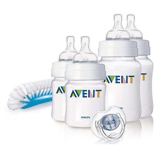 Набор для новорожденных Classic, AVENT110 - 180 мл.<br>Набор бутылочек для кормления новорожденных серии Classic от AVENT Philips - это идеальный подарок для молодой мамы и ее ребенка.<br><br>Полноценный сон и правильное питание крайне необходимы для здоровья и хорошего самочувствия малыша. Принадлежности, входящие в набор для кормления, оптимально подобраны для кормления детей с первых дней жизни.<br> <br>В наборе:<br><br>- 4 бутылочки для кормления серии Classic (2 x 125 мл и 2 x 260 мл)<br>- щеточка для бутылочек и сосок: 1 шт.<br>- пустышка серии Классика 0—6 мес. белого цвета: 1шт.<br><br>Дополнительная информация:<br><br>Антиколиковый клапан: Система предотвращения колик из двух компонентов<br>Дизайн бутылочки: Широкое горлышко, Эргономичный дизайн<br>Использование бутылочки: Легко чистится, Легко держать<br>Соска: Сгибается в соответствии с ритмом кормления<br><br>Не содержит бисфенола-A.<br><br>Размеры упаковки (д/ш/в): 10 х 28 х 22 см.  <br><br>Всё самое необходимое для малыша с рождения!<br><br>Ширина мм: 100<br>Глубина мм: 280<br>Высота мм: 220<br>Вес г: 548<br>Возраст от месяцев: 0<br>Возраст до месяцев: 24<br>Пол: Унисекс<br>Возраст: Детский<br>SKU: 2174476