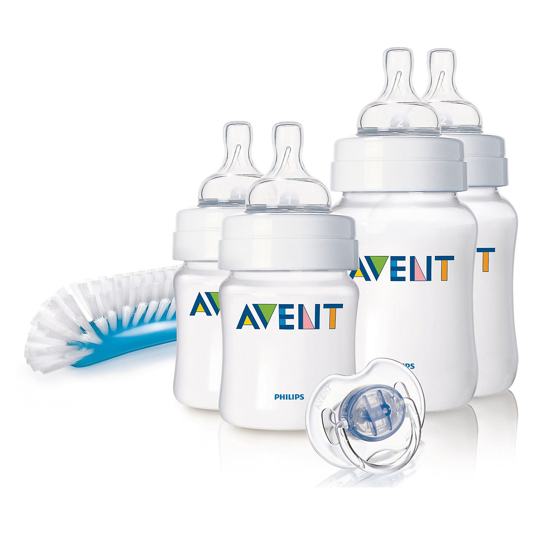 Набор для новорожденных Classic, AVENTНабор бутылочек для кормления новорожденных серии Classic от AVENT Philips - это идеальный подарок для молодой мамы и ее ребенка.<br><br>Полноценный сон и правильное питание крайне необходимы для здоровья и хорошего самочувствия малыша. Принадлежности, входящие в набор для кормления, оптимально подобраны для кормления детей с первых дней жизни.<br> <br>В наборе:<br><br>- 4 бутылочки для кормления серии Classic (2 x 125 мл и 2 x 260 мл)<br>- щеточка для бутылочек и сосок: 1 шт.<br>- пустышка серии Классика 0—6 мес. белого цвета: 1шт.<br><br>Дополнительная информация:<br><br>Антиколиковый клапан: Система предотвращения колик из двух компонентов<br>Дизайн бутылочки: Широкое горлышко, Эргономичный дизайн<br>Использование бутылочки: Легко чистится, Легко держать<br>Соска: Сгибается в соответствии с ритмом кормления<br><br>Не содержит бисфенола-A.<br><br>Размеры упаковки (д/ш/в): 10 х 28 х 22 см.  <br><br>Всё самое необходимое для малыша с рождения!<br><br>Ширина мм: 100<br>Глубина мм: 280<br>Высота мм: 220<br>Вес г: 548<br>Возраст от месяцев: 0<br>Возраст до месяцев: 24<br>Пол: Унисекс<br>Возраст: Детский<br>SKU: 2174476