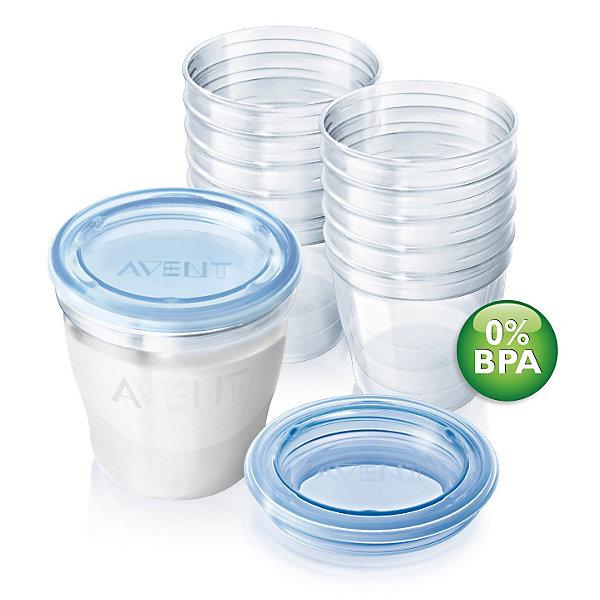 Набор контейнеров VIA , 10 шт., AVENTМолокоотсосы и аксессуары<br>Контейнеры для грудного молока VIA от Philips AVENT (Авент), 10 штук  <br>VIA — это многофункциональная компактная система хранения, <br>учитывающая рост и развитие малыша. Она позволяет использовать <br>одну и ту же чашку для хранения молока или детского питания, а также для кормления малыша. <br><br>Особенности:<br>- Никаких протечек, плотно завинчивающиеся крышки.<br>- Сочетается со всеми молокоотсосами и сосками Philips AVENT (Авент).  <br>- Можно стерилизовать любым способом.<br>- Дату сцеживания можно написать прямо на контейнере.<br>- Контейнеры можно хранить в холодильнике или морозильной камере, а также мыть в посудомоечной машине. <br>- Контейнеры стерильны, их можно сразу использовать.  <br><br>Дополнительная информация: <br>- Материал: не содержит бисфенол-А. <br>- Объём: 180 мл. <br><br>В комплекте: <br>- Стерильная чашка VIA (180 мл): 10 шт.<br>- Крышка: 10 шт.<br>- Адаптер для чашек VIA: 2 шт.<br><br>Идеальны в дороге, устойчивы, лёгкие и плотно закрываются. <br>Путешествуйте с удобством!<br><br>Ширина мм: 160<br>Глубина мм: 80<br>Высота мм: 210<br>Вес г: 372<br>Возраст от месяцев: 0<br>Возраст до месяцев: 36<br>Пол: Унисекс<br>Возраст: Детский<br>SKU: 2174496
