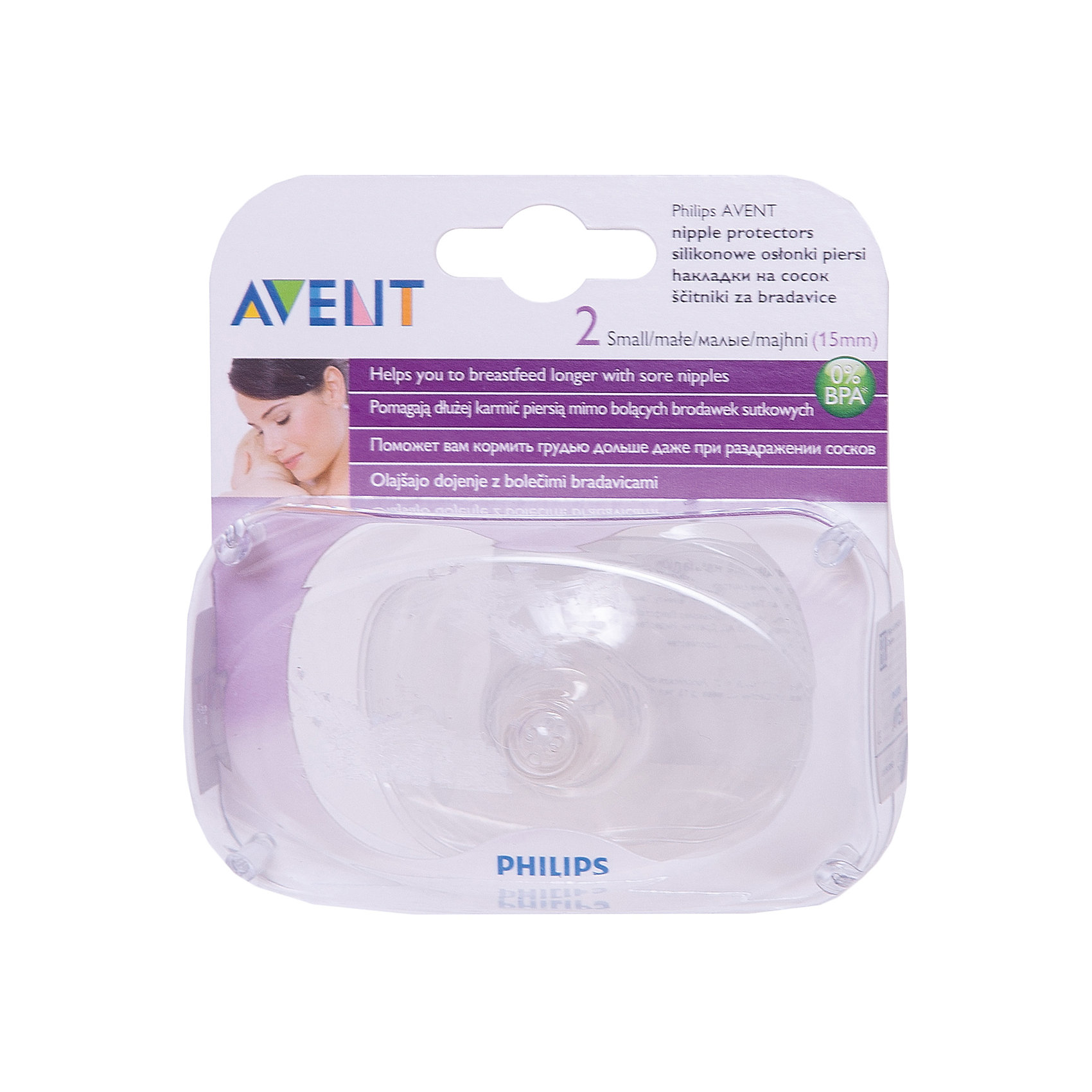 Накладка на сосок - малая AVENTНакладки на грудь<br>Накладка на сосок Philips AVENT (Авент), изготовленная из тонкого, мягкого<br>силикона, не имеющего вкуса и запаха, защищает потрескавшиеся и воспаленные соски во время кормления грудью. <br><br>- Новые, усовершенствованные защитные накладки выполнены в форме бабочки, что помогает значительно <br>улучшить тактильный контакт между мамой и малышом.<br>- Малыш по-прежнему будет ощущать запах и тепло кожи мамы, а сосанием будет стимулировать выработку молока. <br>- Используйте накладки только при потрескавшихся или воспалённых сосках. <br> <br>Дополнительная информация:<br>В комплекте: 2 накладки.<br>Диаметр: 15 мм<br>Материал: силиконовая, не содержит бисфенол-А*<br>Размеры упаковки (Д х Ш х В): 10 х 5 х 10 см.<br><br>Ширина мм: 100<br>Глубина мм: 50<br>Высота мм: 100<br>Вес г: 142<br>Возраст от месяцев: 0<br>Возраст до месяцев: 36<br>Пол: Унисекс<br>Возраст: Детский<br>SKU: 2174500
