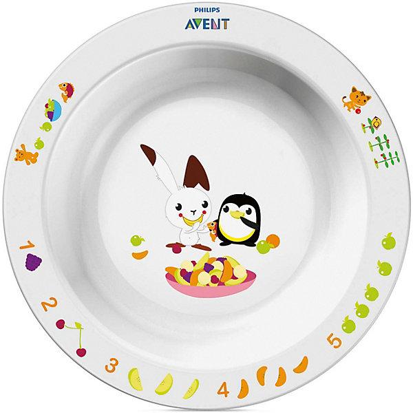 Большая глубокая тарелка AVENTДетская посуда<br>Детская большая тарелка  от AVENT в игровой форме обучает малыша есть самостоятельно. <br><br>Дополнительная информация: <br>- Развивающее оформление<br>- Нескользящее основание предотвращает проливание<br>- Широкие края удобны для самостоятельного питания <br>- Удобно мыть и хранить<br>- Можно мыть в посудомоечной машине <br>- Можно использовать в микроволновой печи <br>- Без бисфенола-А <br>- Разработано при участии ведущего детского психолога (Dr. Gillian Harris) <br>- Размеры: 43(Г)х175(Ш)х175(В)мм<br>- Вес: 0,126 кг.<br><br>Забавный сказочный герой кролик Труман заинтересует малыша, и его тарелка быстро опустеет! Тарелка идеально подойдёт малышам, которые стремятся <br>скорее научиться самостоятельно есть!<br><br>Ширина мм: 40<br>Глубина мм: 210<br>Высота мм: 260<br>Вес г: 175<br>Возраст от месяцев: 12<br>Возраст до месяцев: 60<br>Пол: Унисекс<br>Возраст: Детский<br>SKU: 2174538
