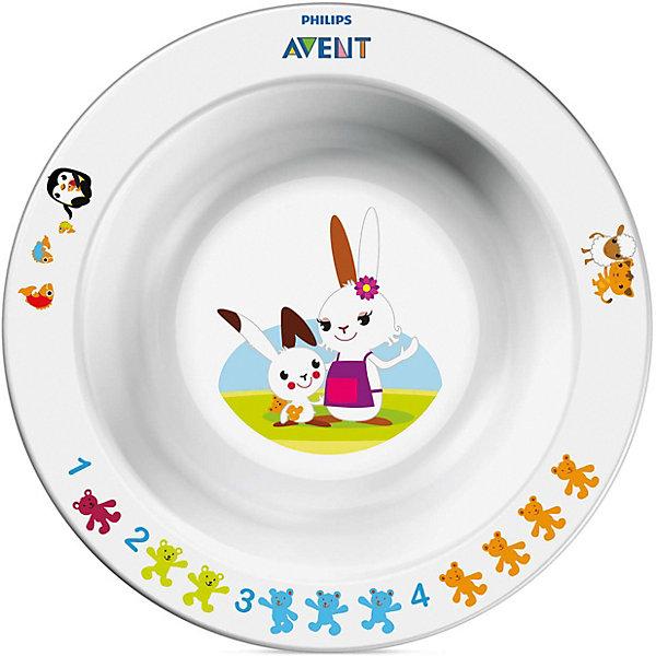 Маленькая глубокая тарелка, AVENTДетские тарелки<br>Малая глубокая тарелка идеально подойдёт малышам, которые стремятся скорее научиться самостоятельно есть!  Забавный сказочный герой кролик Труман заинтересует малыша, и кормление превратится в удовольствие!<br><br>Дополнительная информация: <br>- Развивающее оформление<br>- Нескользящее основание предотвращает проливание<br>- Широкие края удобны для самостоятельного питания <br>- Удобно мыть и хранить<br>- Можно мыть в посудомоечной машине <br>- Можно использовать в микроволновой печи <br>- Без бисфенола-А <br>- Разработано при участии ведущего детского психолога Dr. Gillian Harris<br>- Размеры: 40(Г)х140(Ш)х140(В)мм <br>- Рекомендуемый возраст: 6 мес. +<br><br>Тарелка с весёлым кроликом очень понравится малышу!<br><br>Ширина мм: 40<br>Глубина мм: 170<br>Высота мм: 240<br>Вес г: 129<br>Возраст от месяцев: 6<br>Возраст до месяцев: 36<br>Пол: Унисекс<br>Возраст: Детский<br>SKU: 2174539