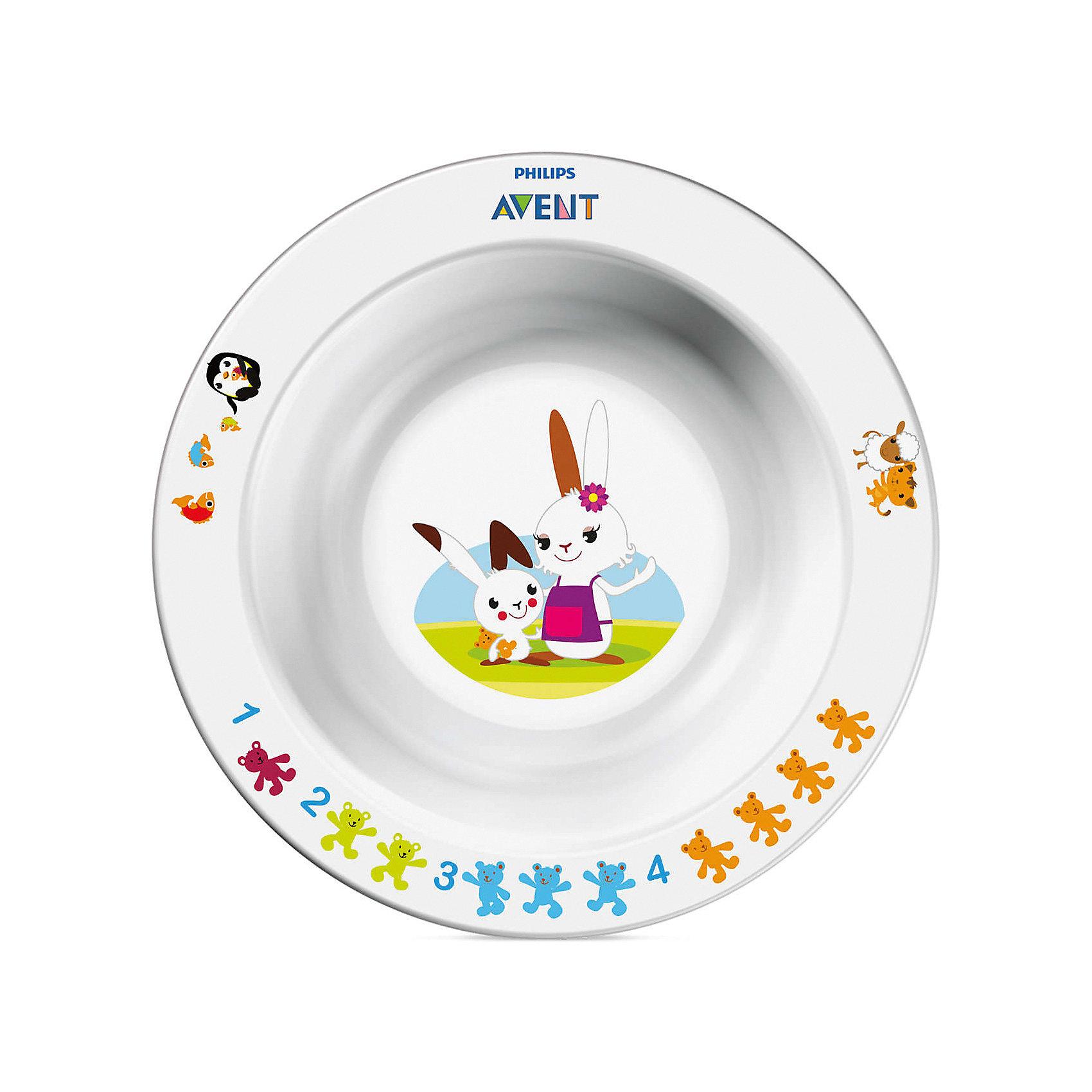 Маленькая глубокая тарелка, AVENTПосуда для малышей<br>Малая глубокая тарелка идеально подойдёт малышам, которые стремятся скорее научиться самостоятельно есть!  Забавный сказочный герой кролик Труман заинтересует малыша, и кормление превратится в удовольствие!<br><br>Дополнительная информация: <br>- Развивающее оформление<br>- Нескользящее основание предотвращает проливание<br>- Широкие края удобны для самостоятельного питания <br>- Удобно мыть и хранить<br>- Можно мыть в посудомоечной машине <br>- Можно использовать в микроволновой печи <br>- Без бисфенола-А <br>- Разработано при участии ведущего детского психолога Dr. Gillian Harris<br>- Размеры: 40(Г)х140(Ш)х140(В)мм <br>- Рекомендуемый возраст: 6 мес. +<br><br>Тарелка с весёлым кроликом очень понравится малышу!<br><br>Ширина мм: 40<br>Глубина мм: 170<br>Высота мм: 240<br>Вес г: 129<br>Возраст от месяцев: 6<br>Возраст до месяцев: 36<br>Пол: Унисекс<br>Возраст: Детский<br>SKU: 2174539