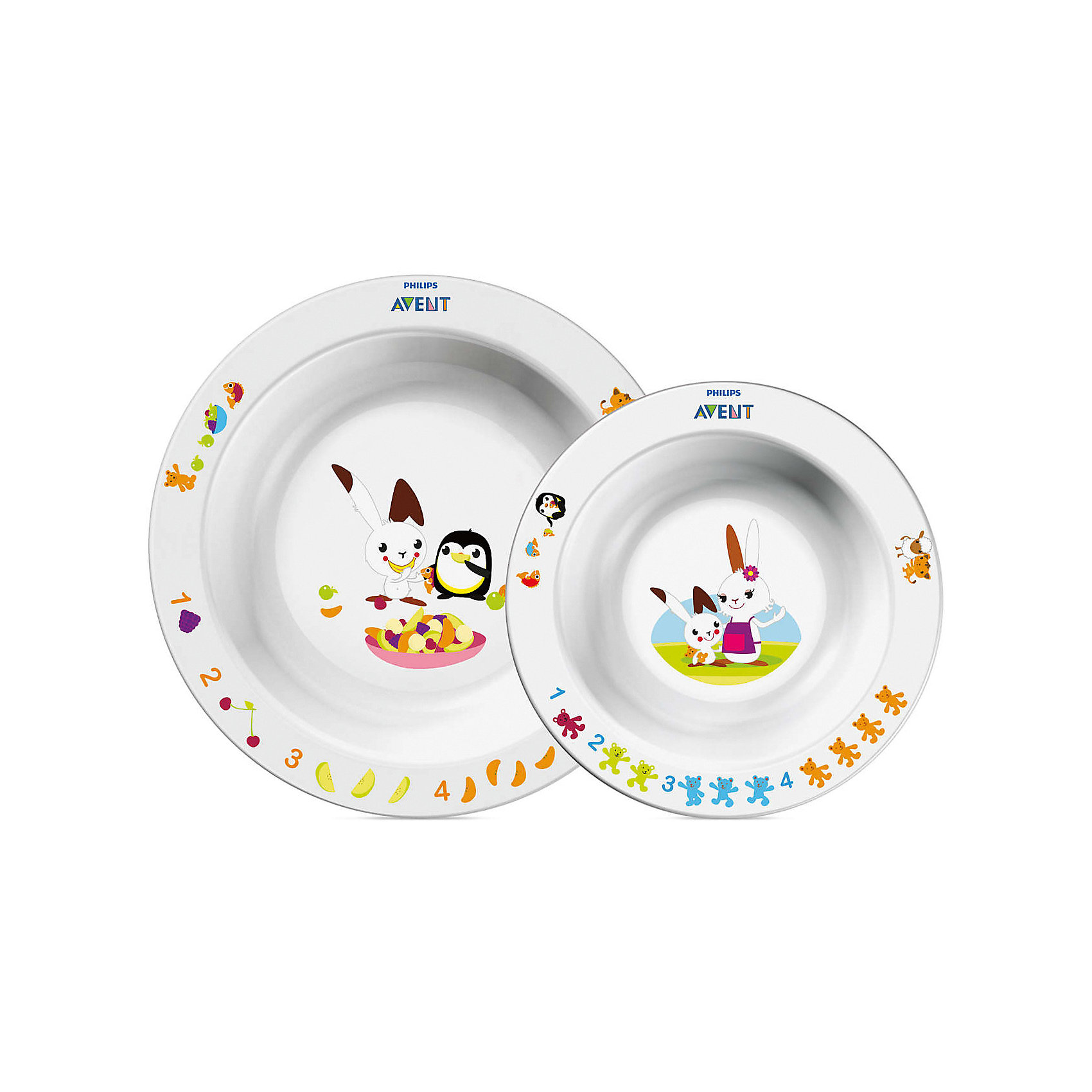 Набор из 2 глубоких тарелок , большая и маленькая, AVENTНабор детских тарелок (Глубокая тарелка большая + Глубокая тарелка малая) <br>Philips AVENT (Авент) идеально подойдёт малышам, которые стремятся скорее научиться самостоятельно есть! <br>Забавный сказочный герой кролик Труман заинтересует малыша, и кормление превратится в удовольствие!<br><br>Дополнительная информация: <br>- Развивающее оформление<br>- 2 размера тарелок для обеда, закусок и десертов<br>- Нескользящее основание предотвращает проливание<br>- Широкие края удобны для самостоятельного питания <br>- Удобно мыть и хранить<br>- Можно мыть в посудомоечной машине <br>- Можно использовать в микроволновой печи <br>- Без бисфенола-А <br>- Разработано при участии ведущего детского психолога Dr. Gillian Harris<br>- Размеры:<br>маленькая тарелка 40(Г)х140(Ш)х140(В)мм<br>большая тарелка 43(Г)х175(Ш)х175(В)мм<br>- В наборе: тарелки - 2шт.<br><br>Тарелки с весёлым кроликом очень понравятся малышам!<br><br>Ширина мм: 50<br>Глубина мм: 210<br>Высота мм: 260<br>Вес г: 232<br>Возраст от месяцев: 12<br>Возраст до месяцев: 72<br>Пол: Унисекс<br>Возраст: Детский<br>SKU: 2174540