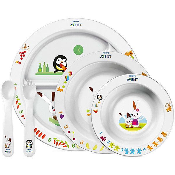 Набор посуды для малыша, AVENTДетская посуда<br>Набор посуды для кормления малышей от AVENT 6 мес.+<br>включает тарелочки и столовые приборы.  <br> <br> На посуде изображены сказочные герои - забавный кролик со своими веселыми друзьями. Привлекающие внимание, яркие и живые изображения и цифры помогают детям сосредоточиться на своих тарелках, и благодаря этому родителям легче удерживать внимание детей на еде.  <br><br>Характеристики:<br>- Вся посуда не содержит бисфенола А<br>- Пригодна для использования в СВЧ-печи и мытья в посудомоечной машине <br>- Все тарелки имеют нескользящее резиновое основание, что предотвращает проливание и разбрызгивание пищи.  - Форма ложки и вилки разработана специально для маленьких ротиков и нежных десен, обеспечивает деликатное кормление и комфортные ощущения малыша<br><br>В наборе: <br>Тарелка с разделителями для блюд  <br>Большая тарелка и маленькая тарелка<br>Вилка и ложка для малыша ясельного возраста<br>  <br>Прекрасный набор, который будет радовать малыша во время каждого приёма пищи!<br><br>Ширина мм: 90<br>Глубина мм: 310<br>Высота мм: 350<br>Вес г: 652<br>Возраст от месяцев: 6<br>Возраст до месяцев: 36<br>Пол: Унисекс<br>Возраст: Детский<br>SKU: 2174544