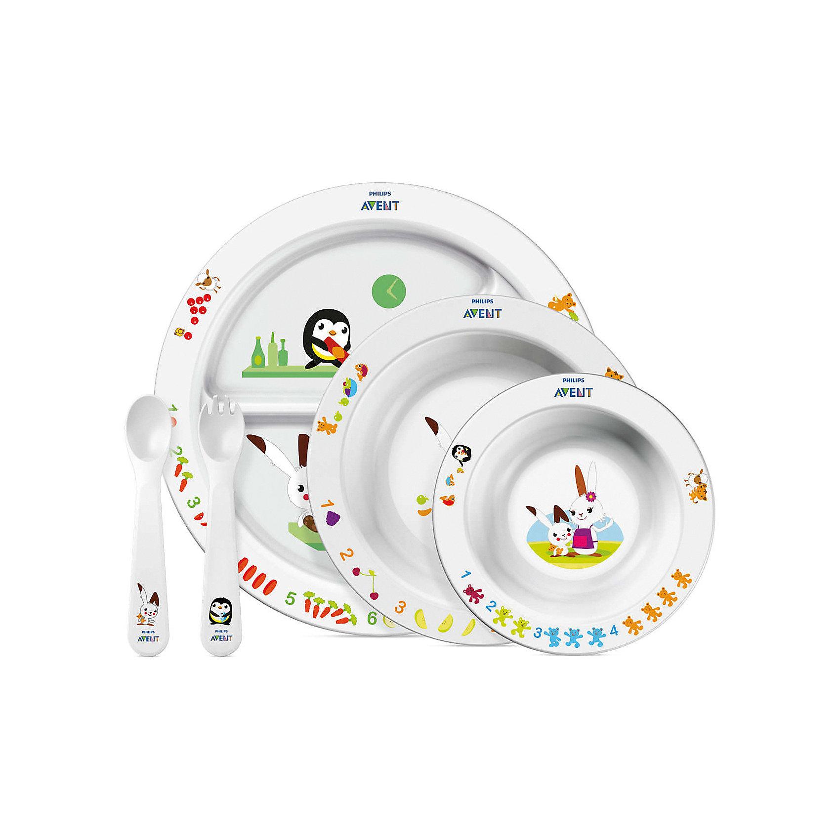 Набор посуды для малыша, AVENTПосуда для малышей<br>Набор посуды для кормления малышей от AVENT 6 мес.+<br>включает тарелочки и столовые приборы.  <br> <br> На посуде изображены сказочные герои - забавный кролик со своими веселыми друзьями. Привлекающие внимание, яркие и живые изображения и цифры помогают детям сосредоточиться на своих тарелках, и благодаря этому родителям легче удерживать внимание детей на еде.  <br><br>Характеристики:<br>- Вся посуда не содержит бисфенола А<br>- Пригодна для использования в СВЧ-печи и мытья в посудомоечной машине <br>- Все тарелки имеют нескользящее резиновое основание, что предотвращает проливание и разбрызгивание пищи.  - Форма ложки и вилки разработана специально для маленьких ротиков и нежных десен, обеспечивает деликатное кормление и комфортные ощущения малыша<br><br>В наборе: <br>Тарелка с разделителями для блюд  <br>Большая тарелка и маленькая тарелка<br>Вилка и ложка для малыша ясельного возраста<br>  <br>Прекрасный набор, который будет радовать малыша во время каждого приёма пищи!<br><br>Ширина мм: 90<br>Глубина мм: 310<br>Высота мм: 350<br>Вес г: 652<br>Возраст от месяцев: 6<br>Возраст до месяцев: 36<br>Пол: Унисекс<br>Возраст: Детский<br>SKU: 2174544