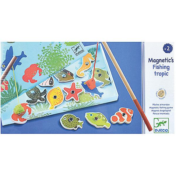 Игра Тропическая рыбалка, DJECOНастольные игры для всей семьи<br>Игра Тропическая рыбалка, DJECO создана для юных рыболовов, мечтающих порыбачить где-нибудь в жарких тропиках, и поймать на удочку экзотическую черепаху, морскую звезду, морского конька или рыбу-клоуна.<br><br>Дополнительная информация:<br><br>- Не предназначена для игры в воде<br>- В комплект игры входят морские обитатели с магнитом (12 шт.) и удочки (2 шт.).<br>- Материал: Дерево, магнит<br>- Размер упаковки: 28 х 15 х 2.5 см<br><br>Игру Тропическая рыбалка, DJECO (Джеко) можно купить в нашем магазине.<br><br>Ширина мм: 280<br>Глубина мм: 150<br>Высота мм: 25<br>Вес г: 250<br>Возраст от месяцев: 24<br>Возраст до месяцев: 72<br>Пол: Унисекс<br>Возраст: Детский<br>SKU: 2175106