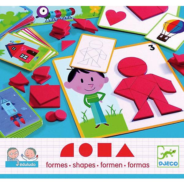 Игра Eduludo Фигуры, DJECOИзучаем цвета и формы<br>Игра Eduludo Фигуры DJECO (Джеко) направлена на изучение геометрических фигур и составление из них разных картинок. Задача игры - наложить на имеющиеся шаблоны детали в виде геометрических фигур, так, чтобы получилась картинка. В набор входят карточки-шаблоны с заданиями, комплект геометрических фигур.<br><br>Дополнительная информация:<br><br>- В комплекте 36 деревянных геометрических фигур, 24 карточки<br>- Материал: дерево, картон.<br>- Размер: 22 х 22 х 5 см.<br>- Размер упаковки:  30 х 28 х 5 см. <br>- Вес: 0,8 кг.<br><br>Эта игра не только познакомит ребенка с геометрическими фигурами, но и разовьет творческое мышление.<br><br>Игра Eduludo Фигуры DJECO (Джеко) можно купить в нашем магазине.<br><br>Ширина мм: 300<br>Глубина мм: 280<br>Высота мм: 50<br>Вес г: 380<br>Возраст от месяцев: 36<br>Возраст до месяцев: 72<br>Пол: Унисекс<br>Возраст: Детский<br>SKU: 2175131
