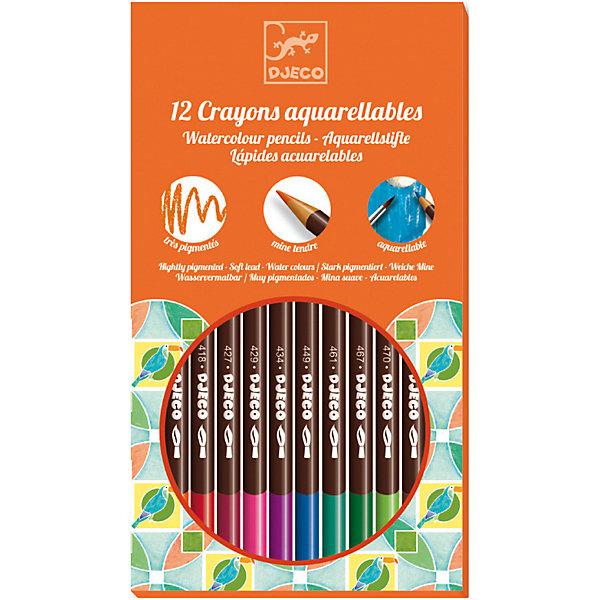 DJECO Набор акварель, 12 штукРисование и лепка<br>Набор состоит из 12 акварельных карандашей и кисточки, с помощью которой вы можете создать эффект акварельного рисунка. Просто немного смочите кисточку водой и проведите по контурам рисунка, слегка размывая их.<br><br>DJECO (Джеко) Набор акварель, 12 штук можно купить в нашем магазине.<br>Ширина мм: 192; Глубина мм: 130; Высота мм: 10; Вес г: 100; Возраст от месяцев: 24; Возраст до месяцев: 2147483647; Пол: Унисекс; Возраст: Детский; SKU: 2175159;