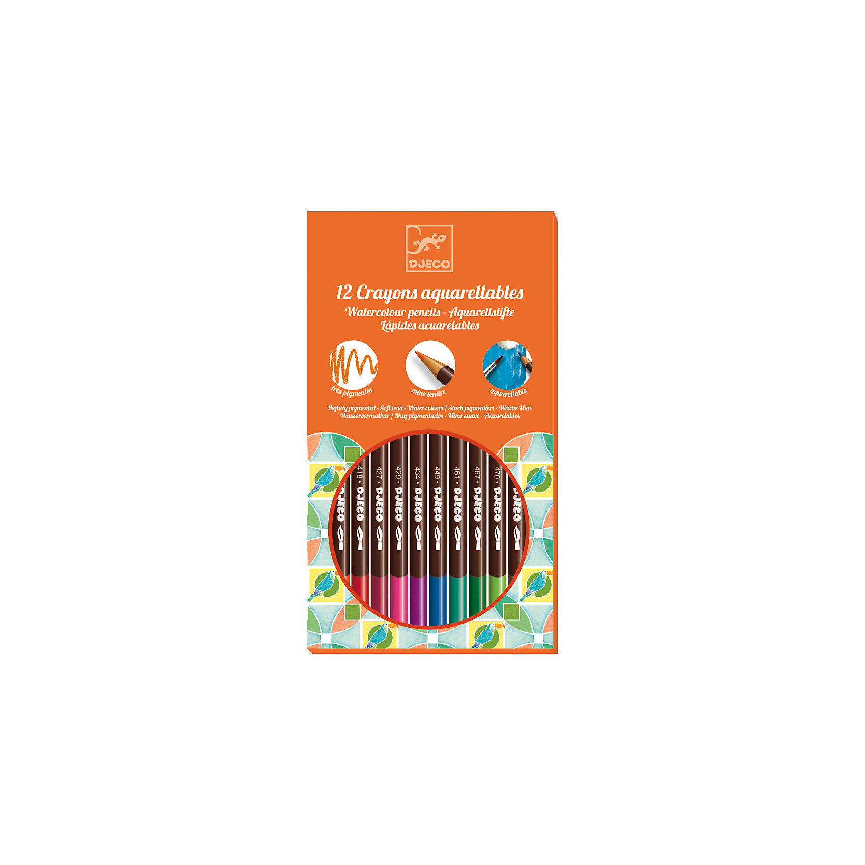 DJECO Набор акварель, 12 штукНабор состоит из 12 акварельных карандашей и кисточки, с помощью которой вы можете создать эффект акварельного рисунка. Просто немного смочите кисточку водой и проведите по контурам рисунка, слегка размывая их.<br><br>DJECO (Джеко) Набор акварель, 12 штук можно купить в нашем магазине.<br><br>Ширина мм: 192<br>Глубина мм: 130<br>Высота мм: 10<br>Вес г: 100<br>Возраст от месяцев: 24<br>Возраст до месяцев: 2147483647<br>Пол: Унисекс<br>Возраст: Детский<br>SKU: 2175159