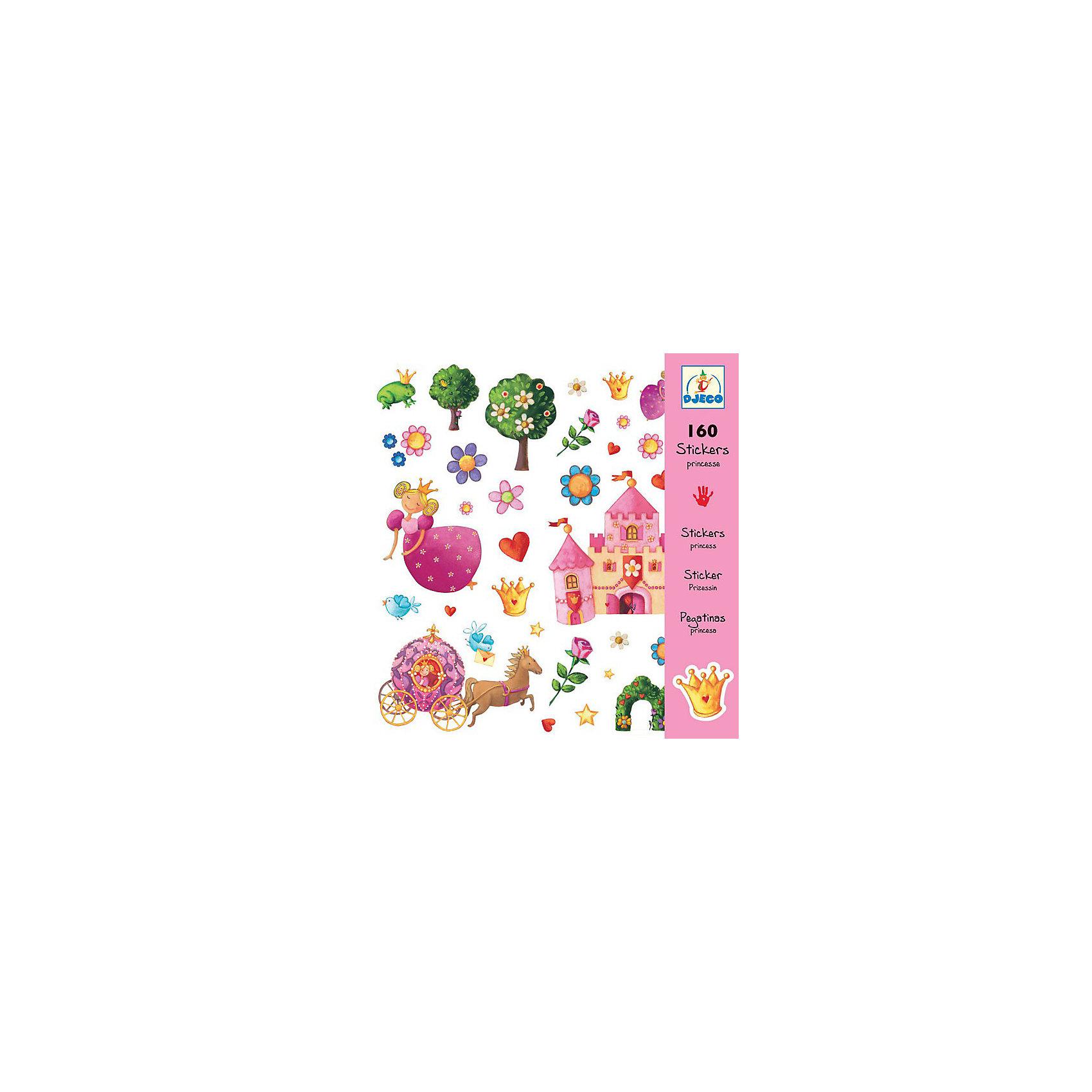 DJECO Набор из 160 наклеек, ПринцессыТворчество для малышей<br>Эти очаровательные наклейки украсят любую тетрадь, папку или приглашение на детский праздник! В наборе 160 наклеек.<br><br>DJECO (Джеко) Набор из 160 наклеек, Принцессы можно купить в нашем магазине.<br><br>Ширина мм: 210<br>Глубина мм: 230<br>Высота мм: 2<br>Вес г: 50<br>Возраст от месяцев: 36<br>Возраст до месяцев: 60<br>Пол: Женский<br>Возраст: Детский<br>SKU: 2175161