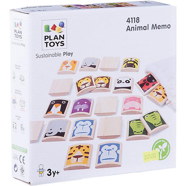 PLAN TOYS 4118 Игра Мемори с изображением животныхИгры мемо<br>Игра Мемори с изображением животных.<br><br>Тренируйте память и наблюдательность детей: чтобы выиграть в игру, необходимо найти большее количество пар животных и правильно их назвать!<br><br>В комплект входит 24 деревянных плитки с изображением 12 различных видов животных.<br><br>Для игры продвинутого уровня составляется пара колонок с вариативным сочетанием дублирующихся животных. Одна колонка накрывается, а вторая демонстрируется ребёнку на 1-2 минуты, после чего вторая колонка закрывается, а первая - открывается. Теперь ребёнку, двигаясь по порядку животных в первой колонке, надо найти ему соответствующую пару во второй колонке.<br><br>Если малыш ещё маленький, то родители могут рассказать об изображённых животных и среде их обитания. <br><br>Дополнительная информация:<br><br>Количество игроков: 2-4.<br><br>Размер игры: 5 х 5 х 1 см.<br>Размер упаковки-мешочка: 18,8 х 4,6 х 18,8 см.<br><br>Интересная развивающая игра для всей семьи.<br><br>Ширина мм: 46<br>Глубина мм: 188<br>Высота мм: 188<br>Вес г: 390<br>Возраст от месяцев: 12<br>Возраст до месяцев: 1164<br>Пол: Унисекс<br>Возраст: Детский<br>SKU: 2175252