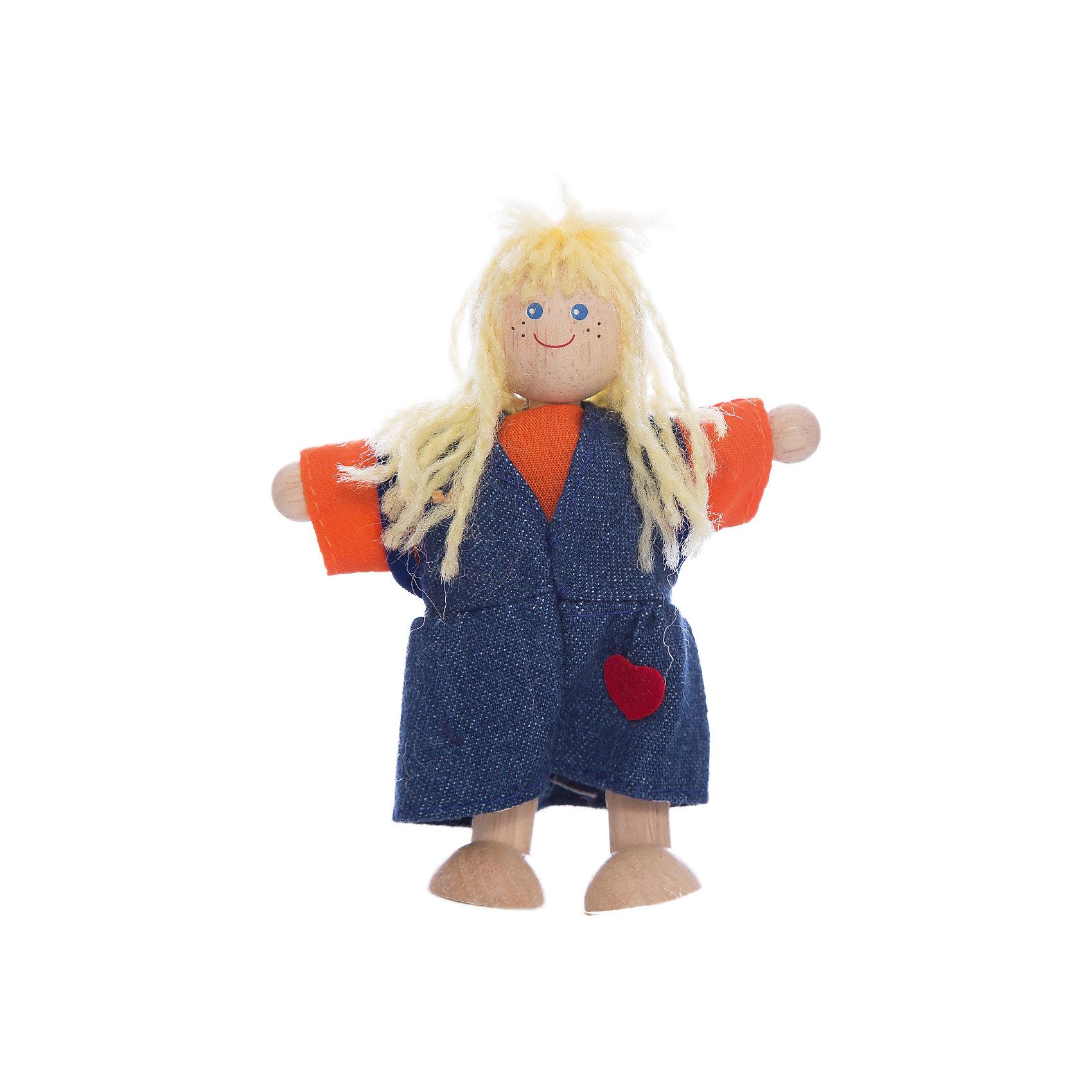 PLAN TOYS 7406 ДевочкаДеревянные куклы, домики и мебель<br>Девочка в джинсовом сарафане. <br><br>У этой девочки длинные волнистые волосы, а руки и ноги крепятся с помощью проволки к телу, поэтому она может принимать различные позы.<br><br>Все игрушки выполнены из каучукового дерева с использованием нетоксичных красок и специально изготавливаются с закругленными краями, чтобы избежать вероятности травмирования.<br><br>Дополнительная информация:<br><br>Размер: 5 х 3 х 10 см.<br>Материал: каучуковое дерево, натуральный хлопок.<br><br>Ширина мм: 43<br>Глубина мм: 140<br>Высота мм: 63<br>Вес г: 180<br>Возраст от месяцев: 36<br>Возраст до месяцев: 72<br>Пол: Женский<br>Возраст: Детский<br>SKU: 2175341
