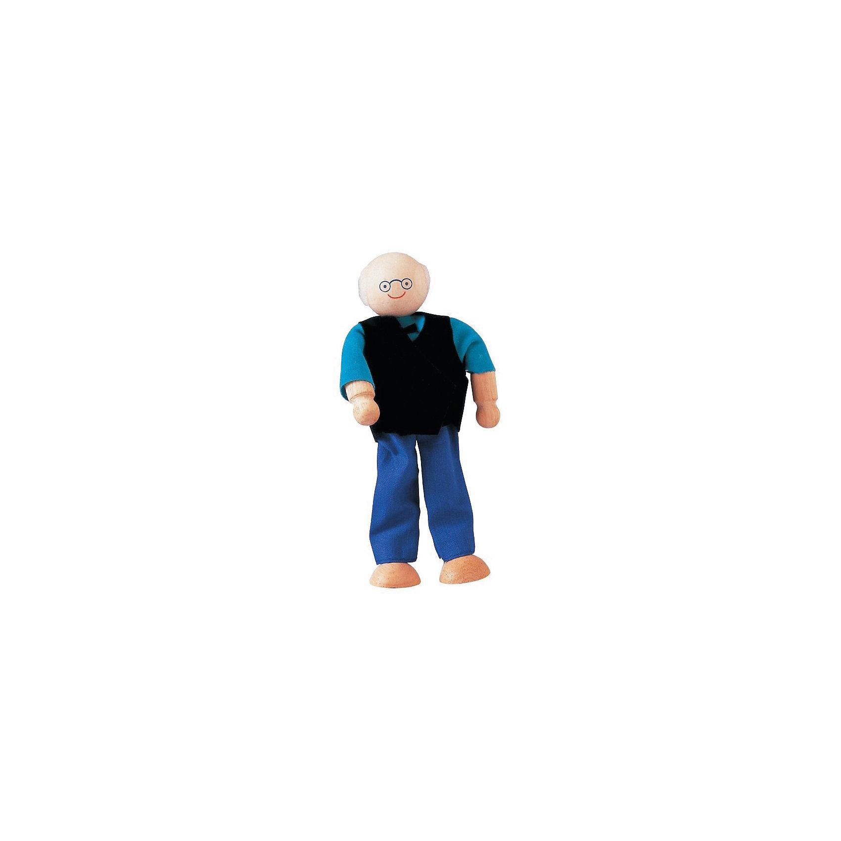 PLAN TOYS 9850 ДедушкаДеревянные куклы, домики и мебель<br>PLAN TOYS (Плен тойс) 9850: Дедушка.<br><br>Характеристика:<br><br>• Материал: каучуковое дерево, нетоксичные краски на водной основе, 100% хлопок.  <br>• Размер упаковки: 6,3х4,3х14 см. <br>• Размер куклы: 6х3х13 см.<br>• Кукла и одежда прекрасно проработаны, выглядят реалистично. <br>• Руки и ноги подвижные.<br>• Кукла может сидеть и стоять.<br><br>Добрый дедушка ждет в гости своих любимых внуков! Кукла выполнена из высококачественных материалов, в производстве которых использованы экологичные красители на водной основе. Игрушка выглядят очень реалистично, одета в повседневную одежду из натурального хлопка, все детали которой прекрасно проработаны. Отличный вариант для сюжетно-ролевых игр.<br><br>PLAN TOYS (Плен тойс) 9850: Дедушку можно купить в нашем интернет-магазине.<br><br>Ширина мм: 43<br>Глубина мм: 140<br>Высота мм: 63<br>Вес г: 110<br>Возраст от месяцев: 36<br>Возраст до месяцев: 72<br>Пол: Женский<br>Возраст: Детский<br>SKU: 2175357