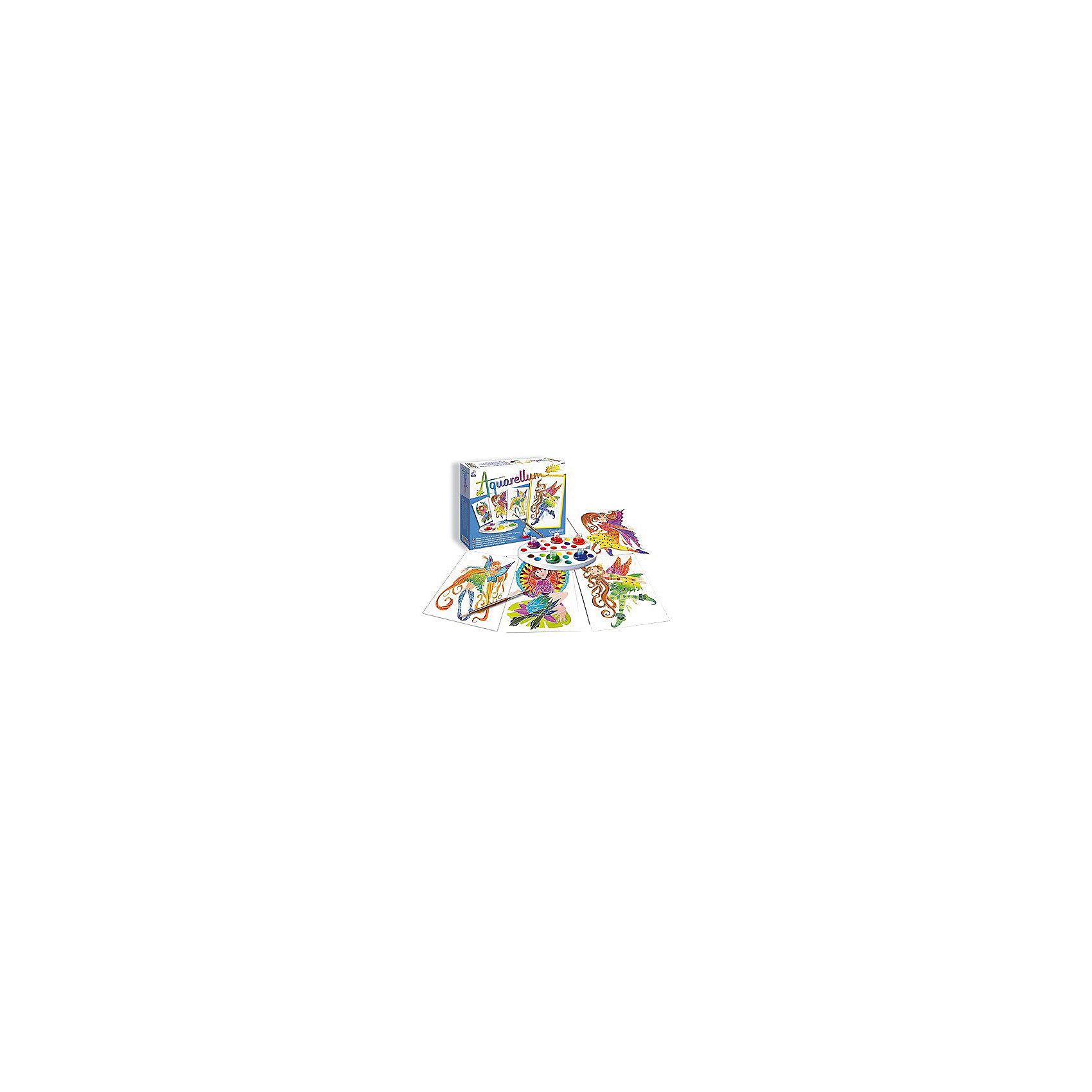 SentoSpherе 677 Акварельная раскраска НимфыВсего несколько капель красок и любой ребенок сможет создать настоящие произведения искусства. Акварель для детей основана на технике вставки в оправу тонкого пергамента. Эта техника позволяет картине приклеиться только на специальные поверхности: рисунок появляется по мере проведения кисточкой по бумаге. Картину можно перерисовывать несколько раз, чтобы получить самый красивый результат. Такая техника идеальна, чтобы научить детей составлению цветов. Кроме того, она развивает воображение, точность и внимание. 4 картины; 1 кисть очень высокого качества; 1 палитра для смешивания красок; 5 флаконов не токсичных акварельных красок; 1 пипетка для дозировки красок; 1 инструкция<br><br>Ширина мм: 270<br>Глубина мм: 200<br>Высота мм: 36<br>Вес г: 281<br>Возраст от месяцев: 72<br>Возраст до месяцев: 109<br>Пол: Женский<br>Возраст: Детский<br>SKU: 2176765