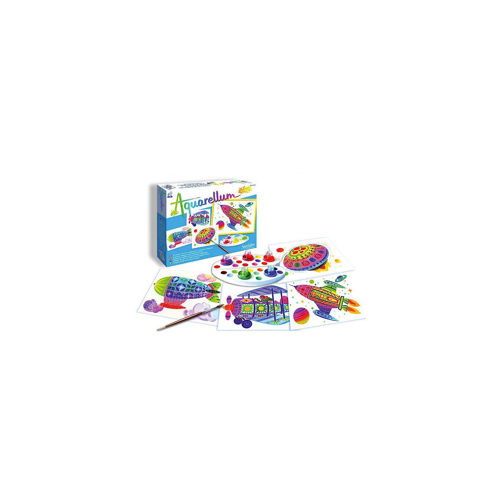 SentoSpherе 678 Акварельная раскраска В воздухеВсего несколько капель красок и любой ребенок сможет создать настоящие произведения искусства. Акварель для детей основана на технике вставки в оправу тонкого пергамента. Эта техника позволяет картине приклеиться только на специальные поверхности: рисунок появляется по мере проведения кисточкой по бумаге. Картину можно перерисовывать несколько раз, чтобы получить самый красивый результат. Такая техника идеальна, чтобы научить детей составлению цветов. Кроме того, она развивает воображение, точность и внимание. 4 картины; 1 кисть очень высокого качества; 1 палитра для смешивания красок; 5 флаконов не токсичных акварельных красок; 1 пипетка для дозировки красок; 1 инструкция<br><br>Ширина мм: 270<br>Глубина мм: 200<br>Высота мм: 30<br>Вес г: 291<br>Возраст от месяцев: 48<br>Возраст до месяцев: 120<br>Пол: Унисекс<br>Возраст: Детский<br>SKU: 2176766
