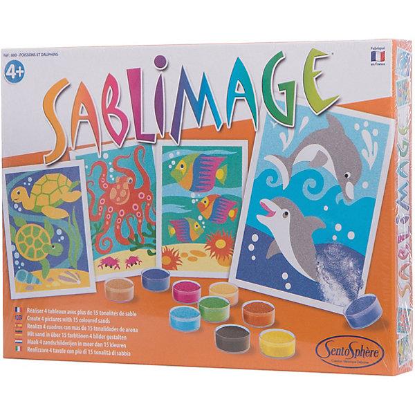 SentoSpherе 880 Песочные картинки Рыбки и дельфинКартины из песка<br>Этот набор предназначен для маленьких детей для создания ими красивых картин, которыми дети будут гордиться и смогут повесить у себя в комнате. Рисование песком  - это игровое и художественное занятие, способствующее развитию чувства гармонии, ловкости рук и креативности. 16 пакетиков песка разного цвета; 4 надрезанные картинки с клейким слоем под пленкой; 1 инструкция, предлагающая многочисленные варианты цветов для каждой картинки.<br><br>Ширина мм: 272<br>Глубина мм: 200<br>Высота мм: 36<br>Вес г: 488<br>Возраст от месяцев: 48<br>Возраст до месяцев: 96<br>Пол: Унисекс<br>Возраст: Детский<br>SKU: 2176785