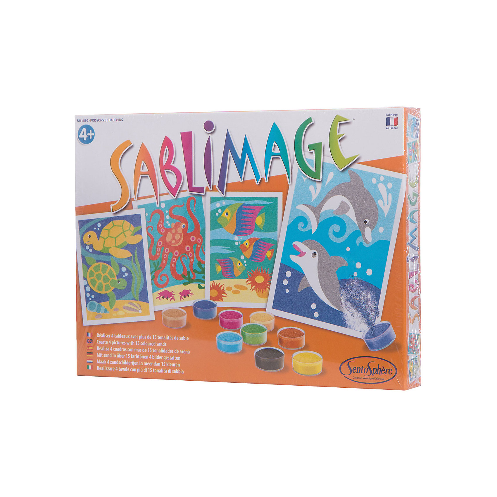 SentoSpherе 880 Песочные картинки Рыбки и дельфинПесочные картинки<br>Этот набор предназначен для маленьких детей для создания ими красивых картин, которыми дети будут гордиться и смогут повесить у себя в комнате. Рисование песком  - это игровое и художественное занятие, способствующее развитию чувства гармонии, ловкости рук и креативности. 16 пакетиков песка разного цвета; 4 надрезанные картинки с клейким слоем под пленкой; 1 инструкция, предлагающая многочисленные варианты цветов для каждой картинки.<br><br>Ширина мм: 272<br>Глубина мм: 200<br>Высота мм: 36<br>Вес г: 488<br>Возраст от месяцев: 48<br>Возраст до месяцев: 96<br>Пол: Унисекс<br>Возраст: Детский<br>SKU: 2176785