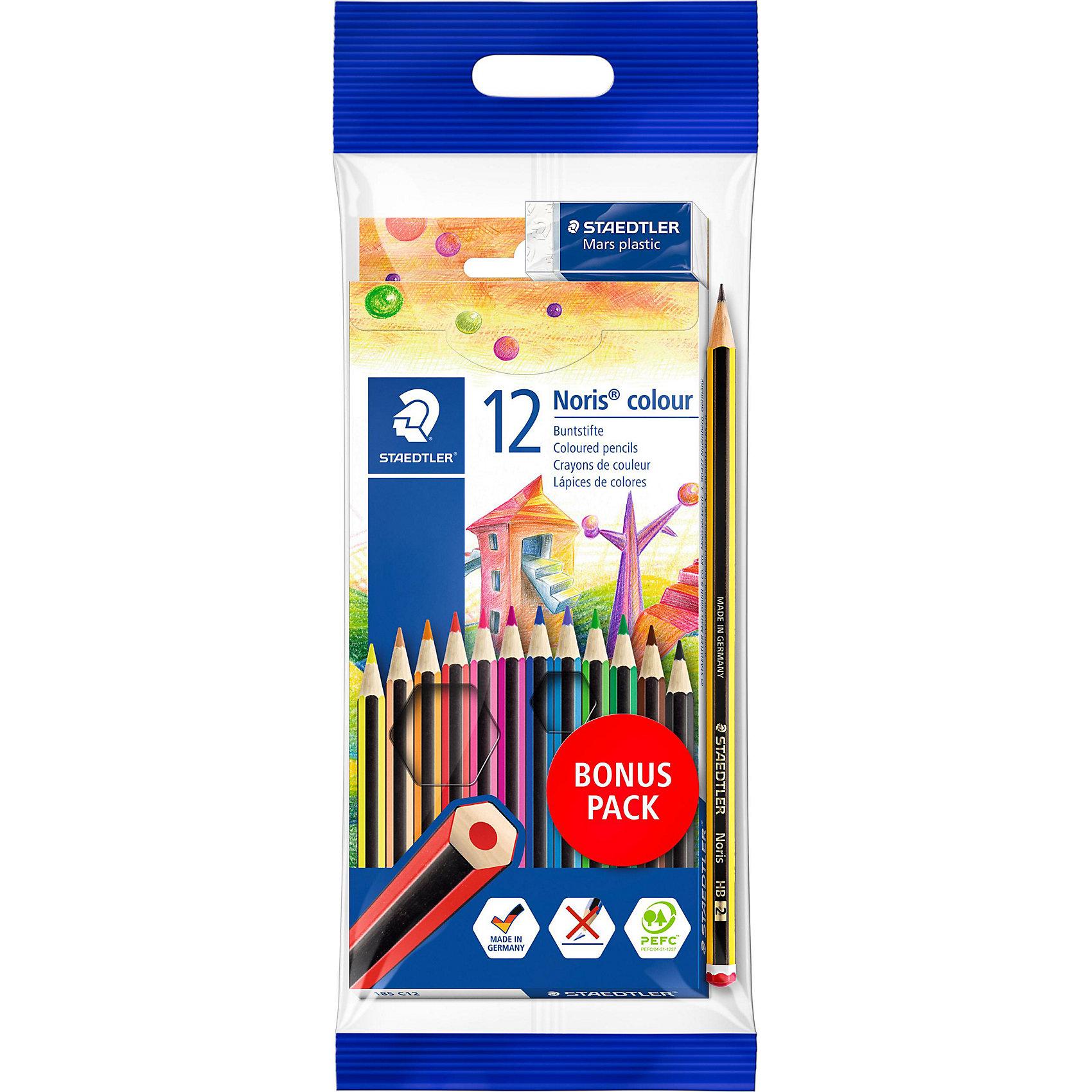 Цветные карандаши NorisClub, 12 цв.Набор цветных карандашей Noris Club классической шестигранной формы. Картонная коробка. Содержит 12 цветов + чернографитовы карандаш+ ластик. A-B-C - белое защитное покрытие для укрепления грифеля и для защиты от поломки. Очень мягкий и яркий грифель. При призводстве используется древесина сертифицированных и  специально подготовленных лесов.<br><br>Ширина мм: 202<br>Глубина мм: 109<br>Высота мм: 22<br>Вес г: 88<br>Возраст от месяцев: 60<br>Возраст до месяцев: 144<br>Пол: Унисекс<br>Возраст: Детский<br>SKU: 2187914