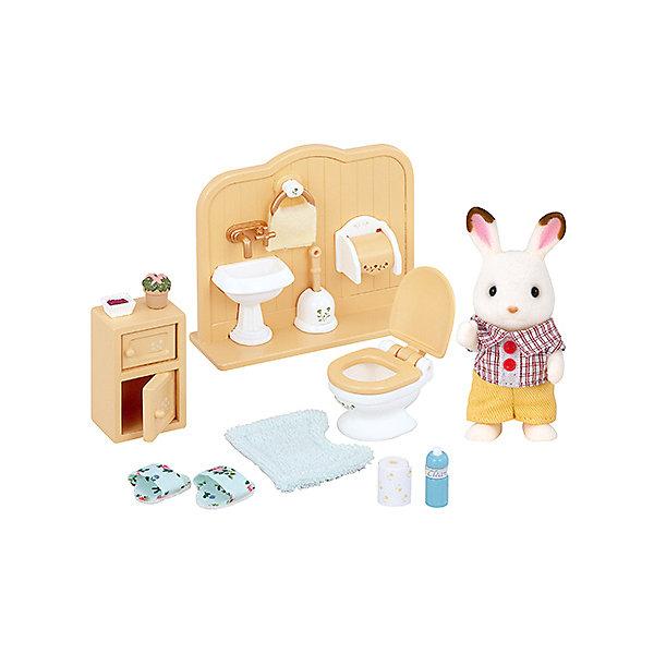 Набор Братик в ванной комнате Sylvanian FamiliesSylvanian Families<br>Братик Кролик и аксессуары для ванной комнаты от Sylvanian Families (Сильваниан Фэмилиес). <br><br>Ванная комната - это одна из самых важных комнат в доме. В семье шоколадных кроликов каждый член семьи ухаживает за своей комнатой. Братику досталась ванная комната, поэтому он старается содержать её в чистоте и порядке.<br><br>Дополнительная информация:<br><br>В комплекте:<br>- кролик (8 см)<br>- умывальник<br>- унитаз<br>- тумбочка<br>- сушилка для полотенца с полотенцем<br>- коврик<br>- туалетная бумага с держателем<br>- запасной рулон туалетной бумаги<br>- ёршик с подставкой<br>- мыло в мыльнице<br>- освежитель воздуха<br>- тапочки<br>- картина<br>- кактус<br><br>Размер упаковки: 15 х 17 х 8 см.<br>Материал: ПВХ с полимерным напылением, пластмасса, текстиль.<br><br>Ширина мм: 167<br>Глубина мм: 152<br>Высота мм: 78<br>Вес г: 169<br>Возраст от месяцев: 36<br>Возраст до месяцев: 72<br>Пол: Женский<br>Возраст: Детский<br>SKU: 2196826