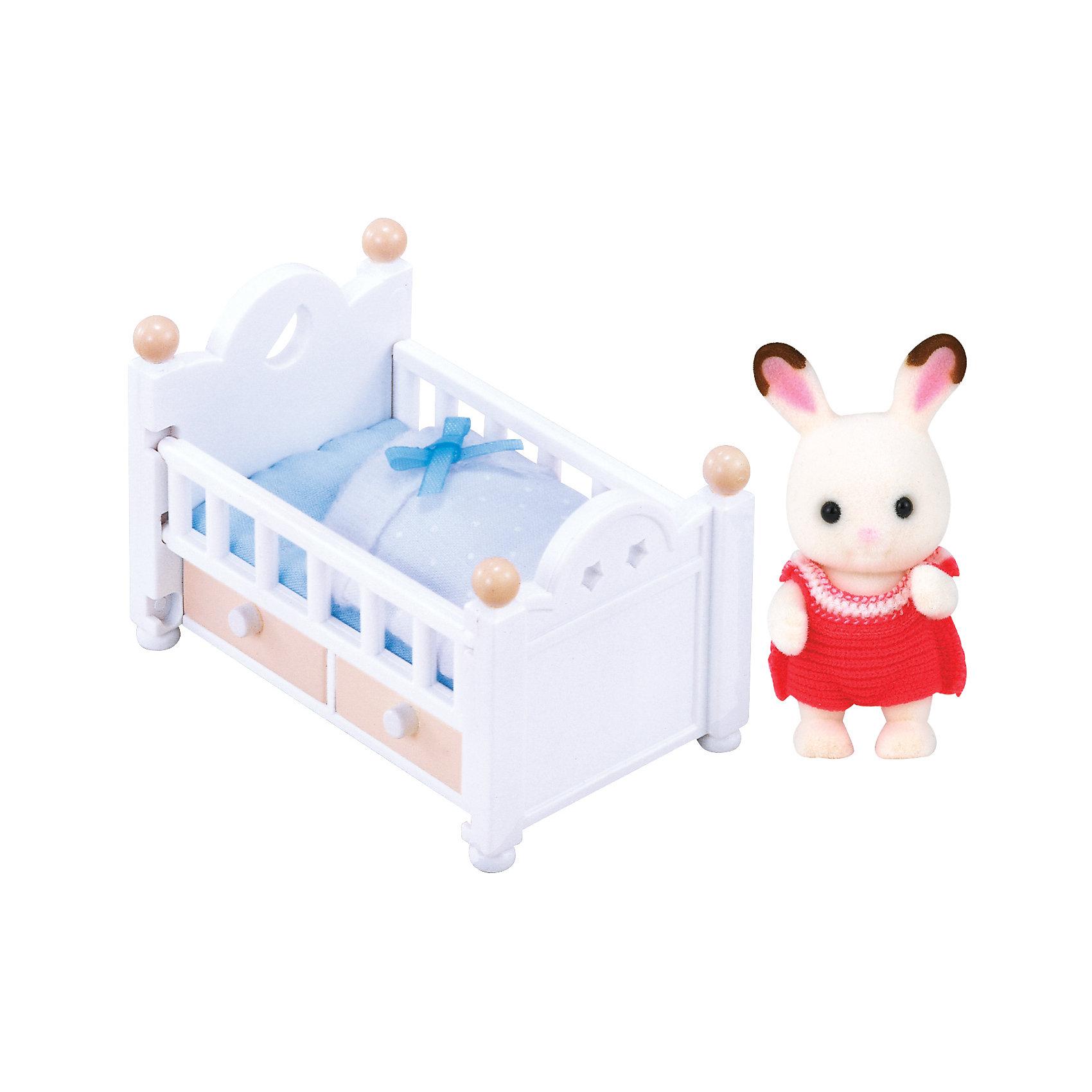 """- Набор """"Малыш шоколадный заяц с кроваткой"""" Sylvanian Families"""