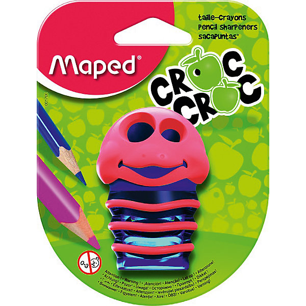 Точилка CROC CROCКанцтовары для первоклассников<br>Точилка CROC CROC от марки Maped<br><br>Точилка должна быть в каждом доме, где есть карандаши. Она может быть выполнена  в очень интересном дизайне, как эта модель от бренда Maped. Точилка сделана из приятного на ощупь материала. <br>Поверхность корпуса препятствует скольжению пальцев и обеспечивает комфорт при заточке карандашей. <br>Процесс заточки оживляет интерактивная система: заяц в процессе двигает зубами!<br><br>Особенности данной модели:<br><br>материал корпуса: пластик;<br>тип: ручная.<br><br>Точилку CROC CROC от марки Maped можно купить в нашем магазине.<br><br>Ширина мм: 48<br>Глубина мм: 95<br>Высота мм: 125<br>Вес г: 20<br>Возраст от месяцев: 60<br>Возраст до месяцев: 1164<br>Пол: Унисекс<br>Возраст: Детский<br>SKU: 2197667