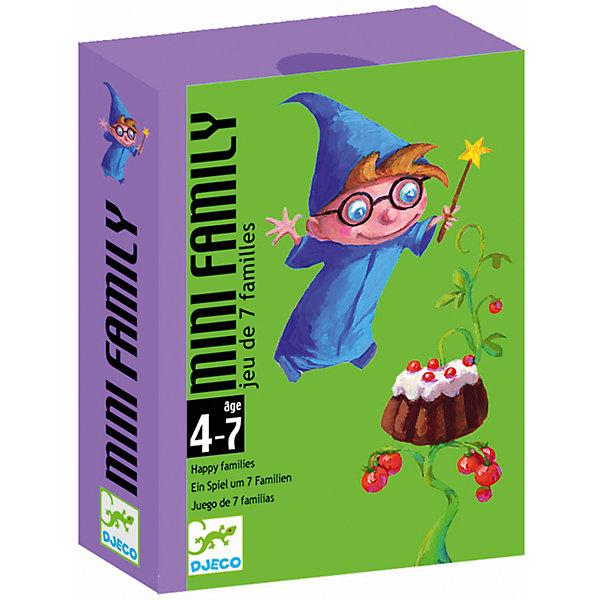 Настольная игра Мини-семья, DJECOКарточные настольные игры<br>Детская карточная игра Мини-семья от DJECO (Джеко).<br><br>Цель игры: собрать как можно больше семейств. Каждое семейство состоит из 4 карт. Всего в наборе 28 карт (7 семейств). <br><br>Игрокам раздаётся по пять карт. Используя карты из общей колоды и карты соперников, необходимо собрать как можно больше семейств.<br><br>Дополнительная информация:<br><br>Количество игроков: 2-4.<br>Размер упаковки (д/ш/в): 8,5 х 1,8 х 11,7 см.<br><br>Игра направлена на развитие логического мышления. Понравится как детям, так и взрослым.<br>Ширина мм: 85; Глубина мм: 28; Высота мм: 117; Вес г: 300; Возраст от месяцев: 36; Возраст до месяцев: 84; Пол: Унисекс; Возраст: Детский; SKU: 2199962;