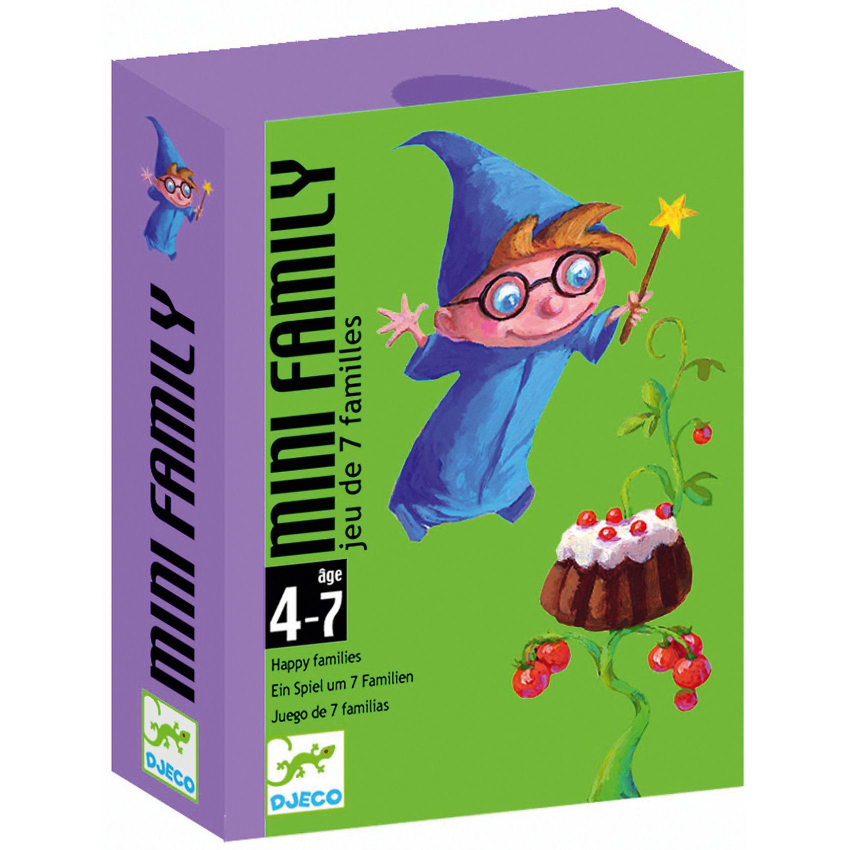 Настольная игра Мини-семья, DJECOКарточные игры<br>Детская карточная игра Мини-семья от DJECO (Джеко).<br><br>Цель игры: собрать как можно больше семейств. Каждое семейство состоит из 4 карт. Всего в наборе 28 карт (7 семейств). <br><br>Игрокам раздаётся по пять карт. Используя карты из общей колоды и карты соперников, необходимо собрать как можно больше семейств.<br><br>Дополнительная информация:<br><br>Количество игроков: 2-4.<br>Размер упаковки (д/ш/в): 8,5 х 1,8 х 11,7 см.<br><br>Игра направлена на развитие логического мышления. Понравится как детям, так и взрослым.<br><br>Ширина мм: 85<br>Глубина мм: 28<br>Высота мм: 117<br>Вес г: 300<br>Возраст от месяцев: 36<br>Возраст до месяцев: 84<br>Пол: Унисекс<br>Возраст: Детский<br>SKU: 2199962