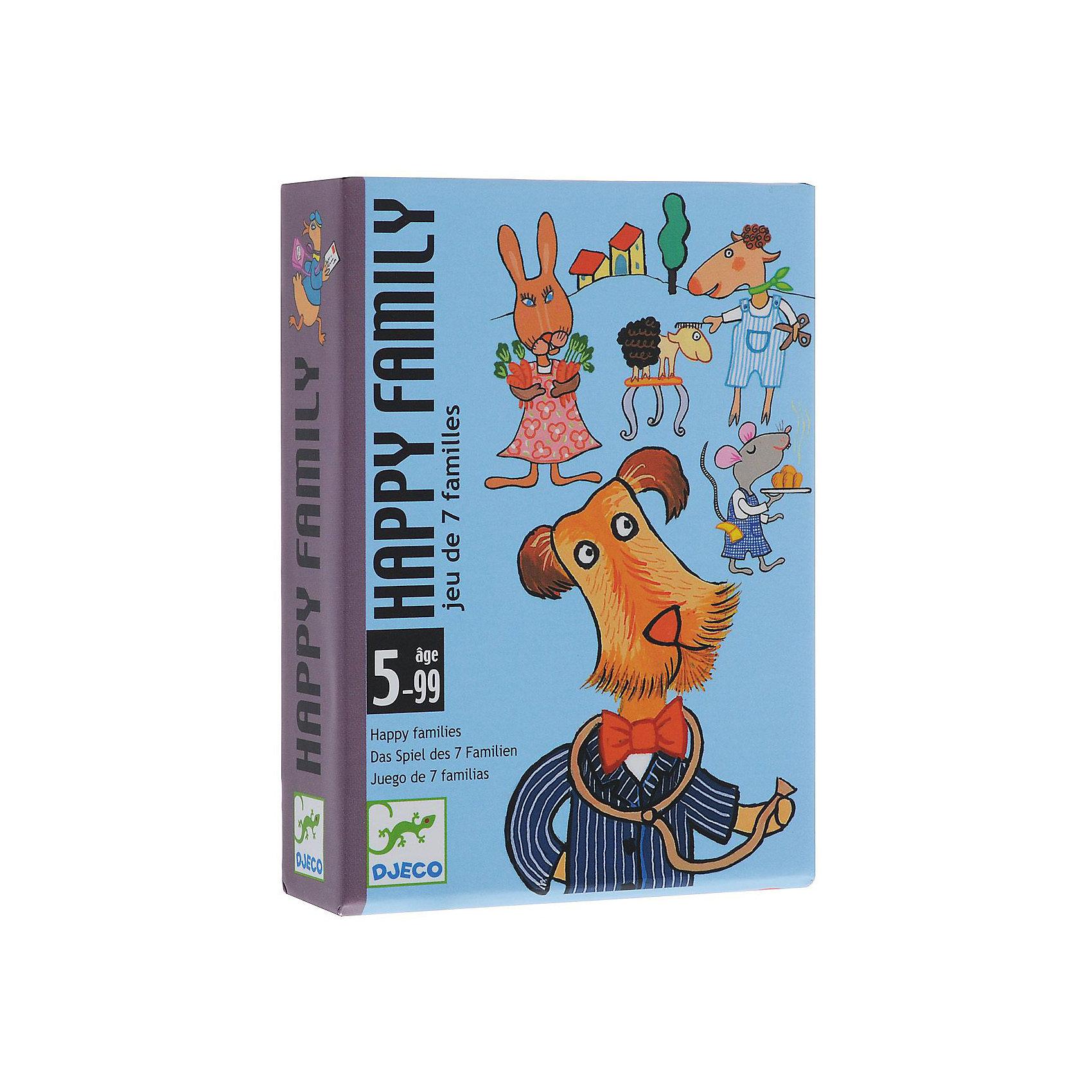 Карточная игра Счастливая семейка, DJECOКарточные игры<br>Цель игры: собрать наибольшее количество семей. Игроки группируют карты по семьям, делая ходы по очереди и используя карты из общей колоды и карты соперников. <br><br>Дополнительная информация:<br><br>- В наборе: 42 карты, 7 семей, 7 профессий.<br>- Игра позволяет развивать реакцию, внимание, память.<br>- Количество игроков: 2-4.<br><br>Карточную Игру Счастливая семейка, DJECO (Джеко) можно купить в нашем магазине.<br><br>Ширина мм: 85<br>Глубина мм: 28<br>Высота мм: 117<br>Вес г: 300<br>Возраст от месяцев: 60<br>Возраст до месяцев: 108<br>Пол: Унисекс<br>Возраст: Детский<br>SKU: 2199969