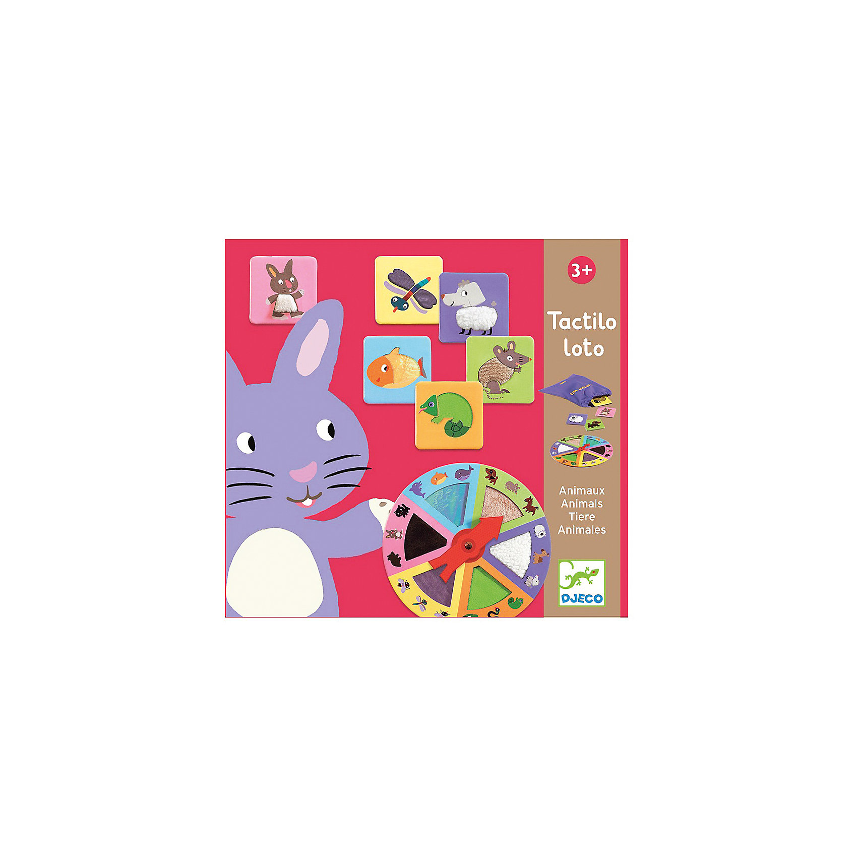 Игра Тактильное лото Животные, DJECOЛото<br>Тактильное лото - веселая познавательная игра для  развитие мелкой моторики и логического мышления. Цель игры  Тактильное лото Животные, DJECO (Джеко) найти на ощупь в мешочке материалы, указанные на рулетке. <br><br>Как играть: все карточки с животными кладутся в мешочек. Первый игрок (обычно самый младший) крутит стрелку на рулетке. Она останавливается на определенном материале. Если стрелка остановилась между двумя секторами, игрок снова запускает рулетку. Затем он запускает руку в мешочек, чтобы найти на ощупь карточку, материал которой выпал на рулетке. <br><br>Если он считает, что нашел ее, он вытаскивает карточку и показывает ее другим игрокам. Как считать очки: если карточка соответствует материалу, который искал игрок, то он сохраняет  у себя карточку как выигранное очко. Стрелку крутит следующий игрок. Карточка не соответствует - кладет ее назад в мешочек и проиводится переход хода. <br><br>Если в мешочке больше нет карт с текстурой поверхности, соответствующей указанному сектору, то игрок снова запускает рулетку и повторяет это действие до тех пор, пока не выпадет сектор, для которого в мешочке еще остались карты. <br>Когда мешочек становится пустым, то победителем признается тот игрок, у которого больше всех карточек с животными. <br><br>Самые маленькие могут выбрать упрощенные варианты игры: <br>Дети по очереди вытаскивают карты из мешочка и затем сортируют их по текстуре поверхности. <br>Или  вариант, когда все карты выкладываются на стол, лицевой стороной вверх. Первый игрок запускает рулетку, а затем он должен взять со стола карту с текстурой поверхности, соответствующей сектору, на который указывает рулетка.<br><br>Дополнительная информация:<br><br>В комплекте: 1 рулетка, содержащая 6 различных материалов, 18 карточек с животными с материалами из их шерсти, 1 матерчатый мешочек. <br>Продолжительность игры: 10 минут <br><br>Игру Тактильное лото Животные, DJECO (Джеко) можно купить в нашем магазине.<br><br>Ш